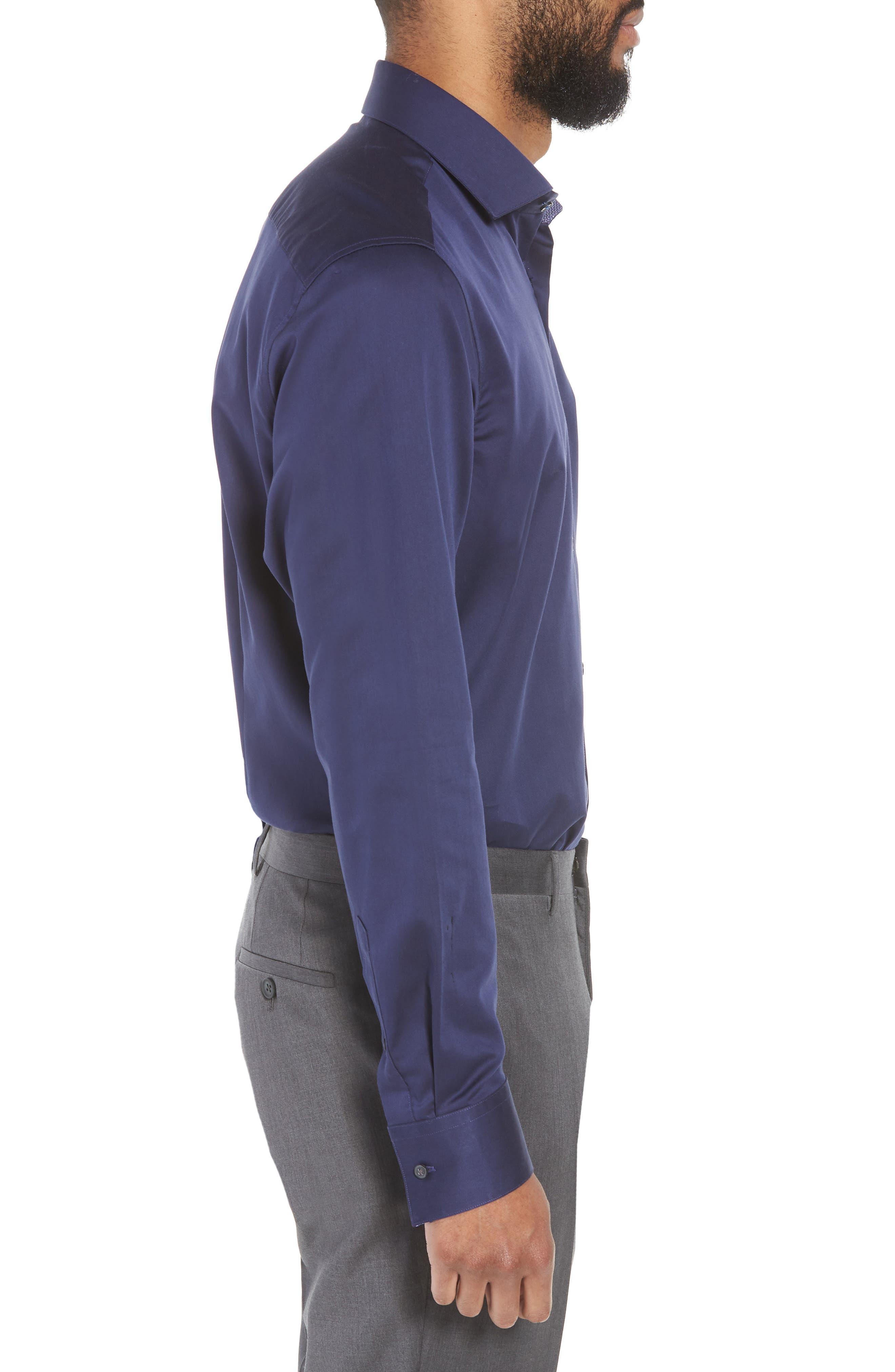 Endurance Bookers Slim Fit Solid Dress Shirt,                             Alternate thumbnail 4, color,                             Navy