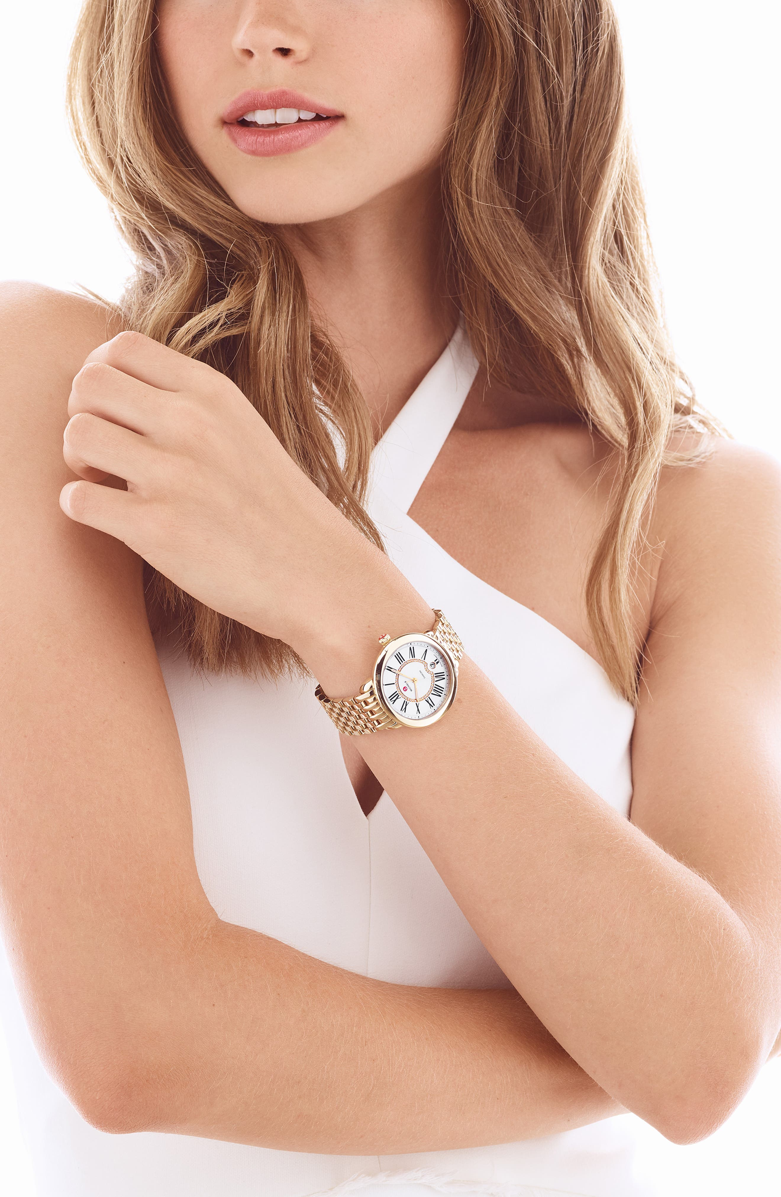 Serein 16mm Gold Plated Bracelet Watchband,                             Alternate thumbnail 2, color,                             Gold