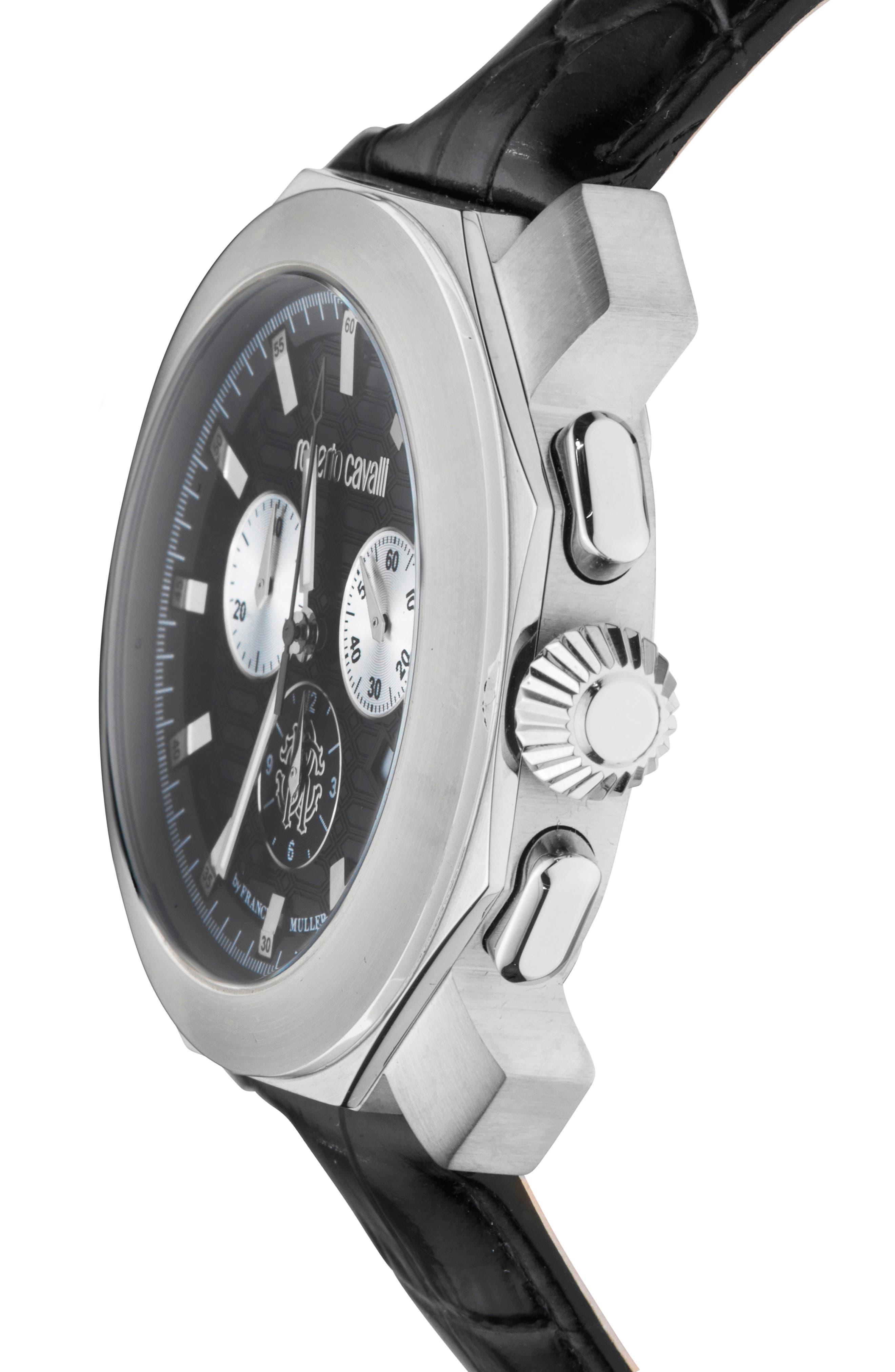 Sport Chronograph Leather Strap Watch,                             Alternate thumbnail 3, color,                             Black/ Silver/ Black
