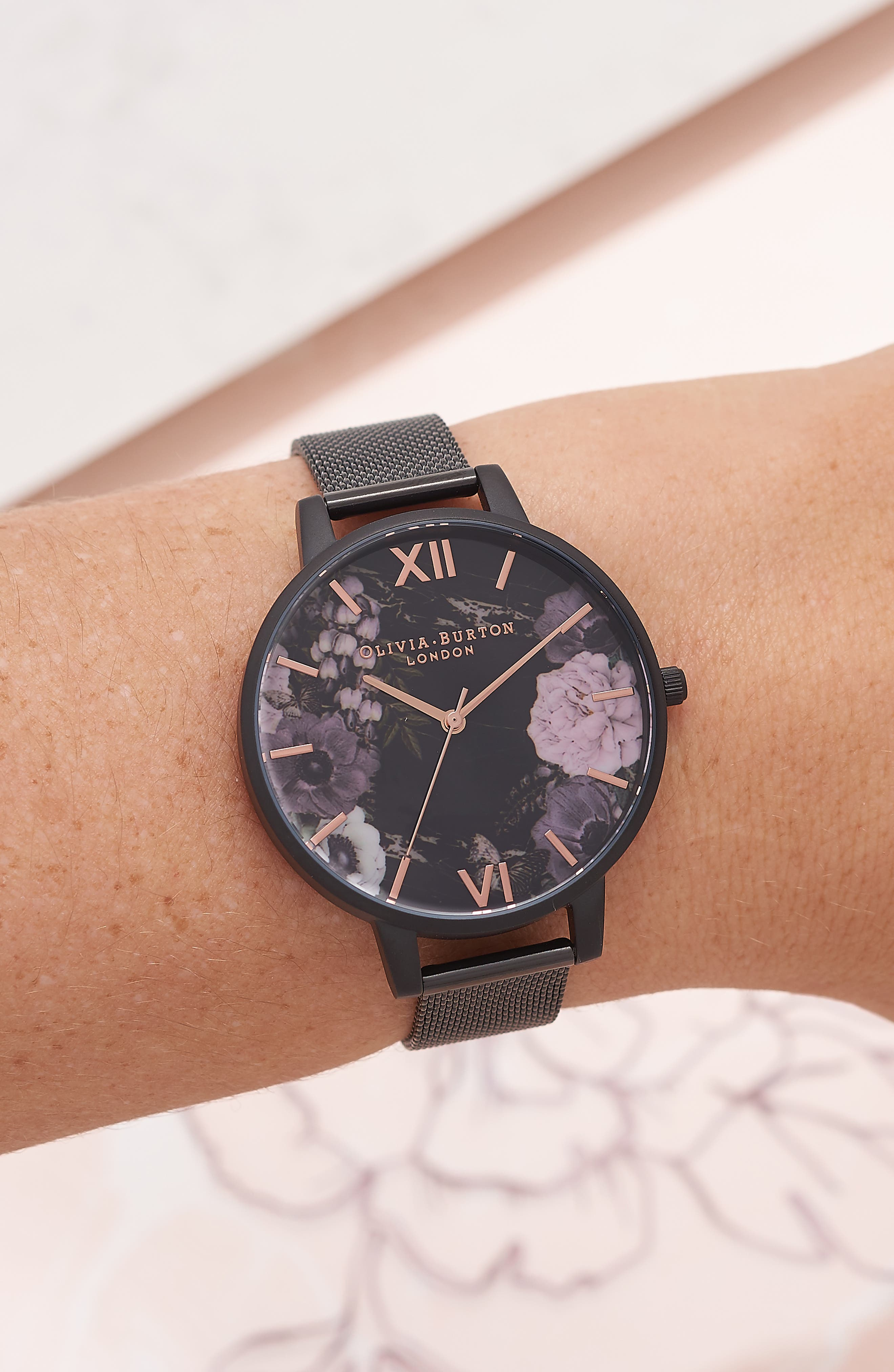 After Dark Mesh Strap Watch, 38mm,                             Alternate thumbnail 4, color,                             Black/ Floral/ Rose Gold