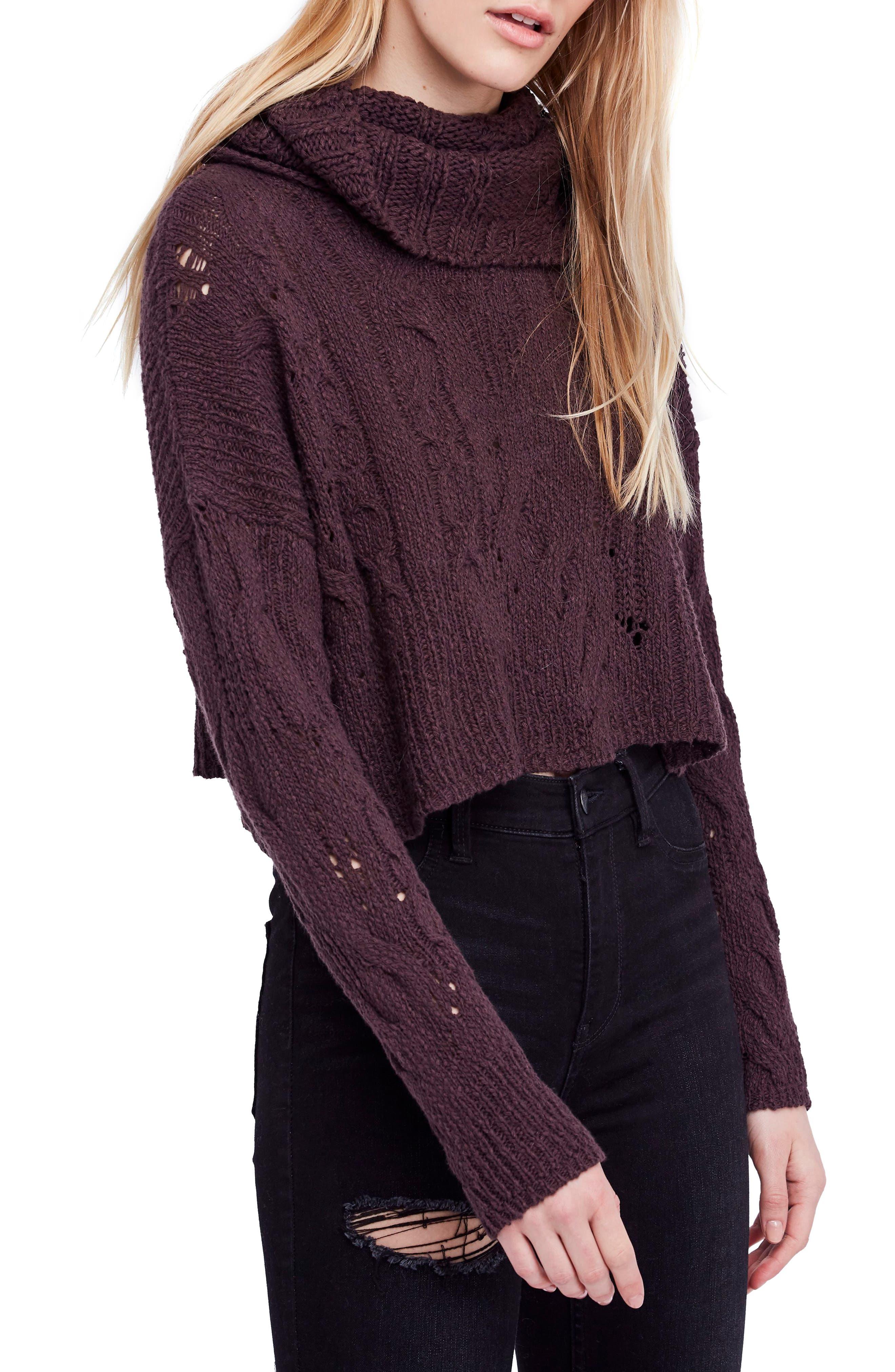 Shades Of Dawn Crop Sweater, Dark Purple