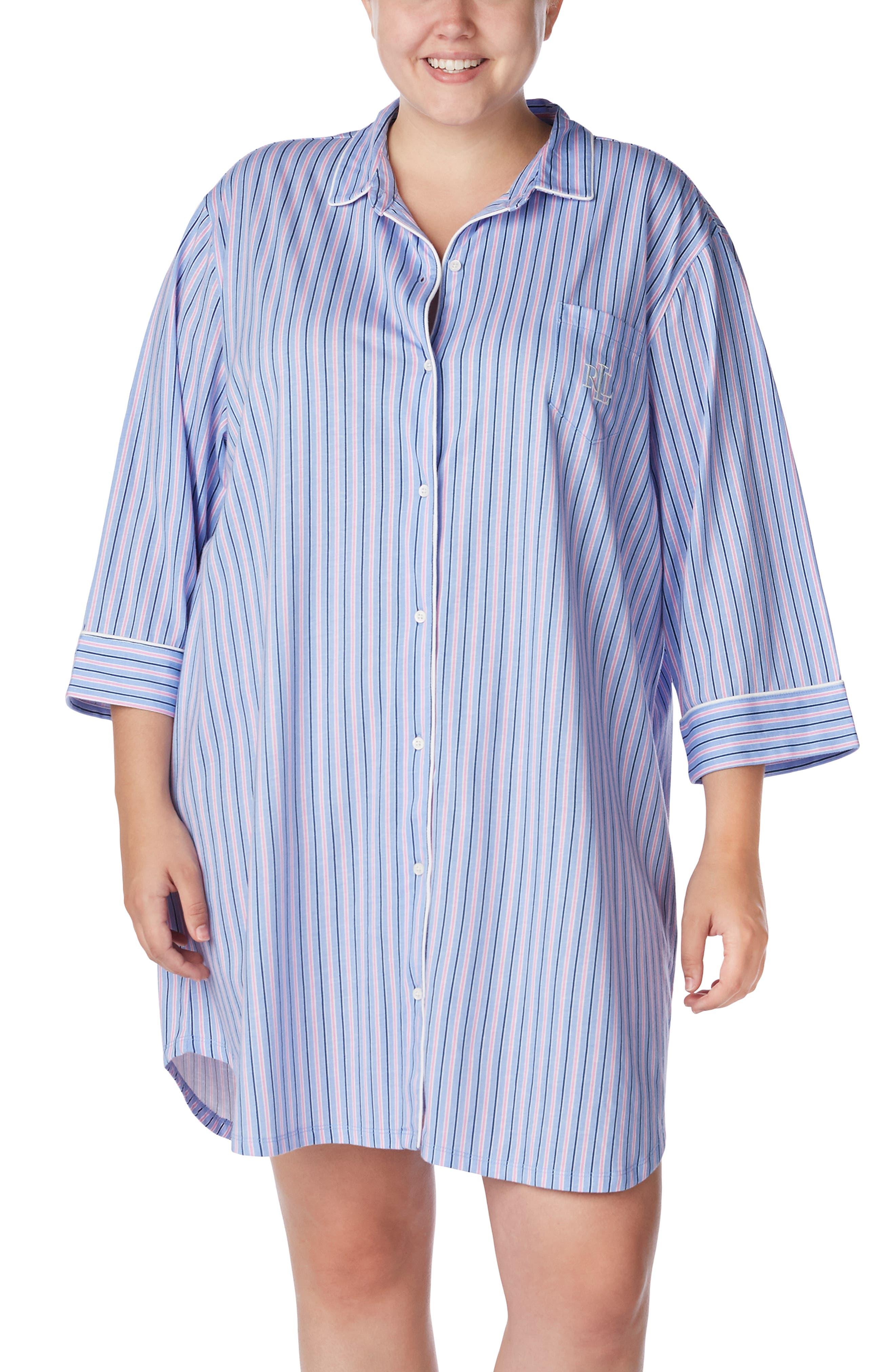Lauren Ralph Lauren Stripe Sleep Shirt (Plus Size)