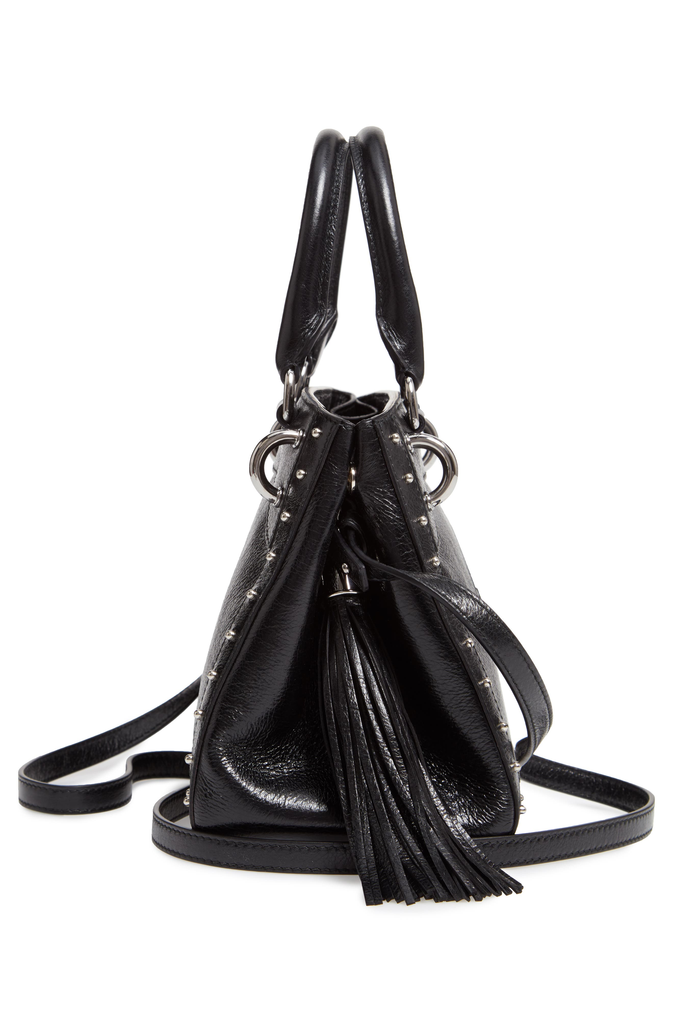 Mini Logo Calfskin Leather Top Handle Satchel,                             Alternate thumbnail 5, color,                             Noir