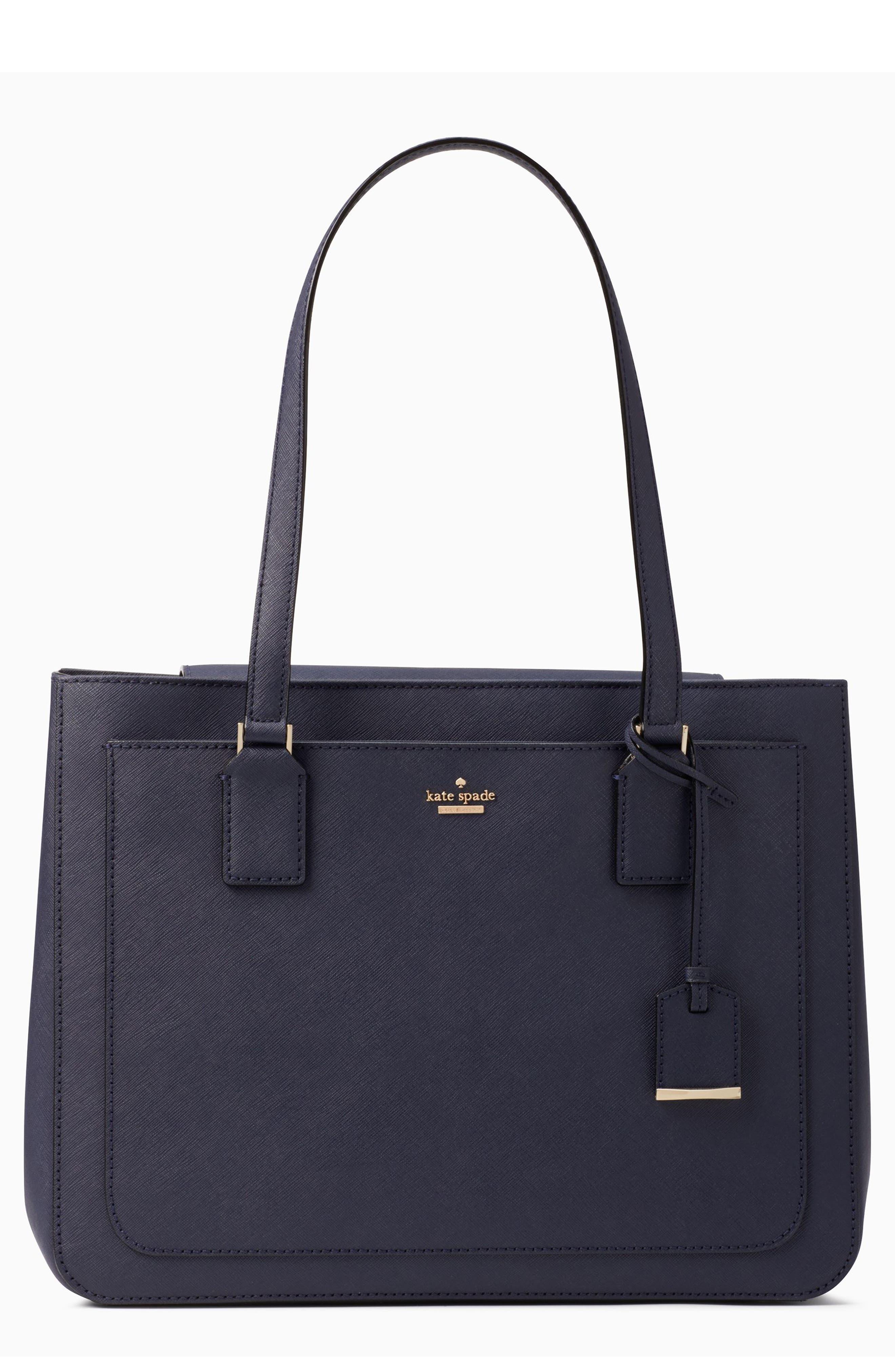 cameron street - zooey leather tote,                         Main,                         color, Blazer Blue/ Tusk/ Black