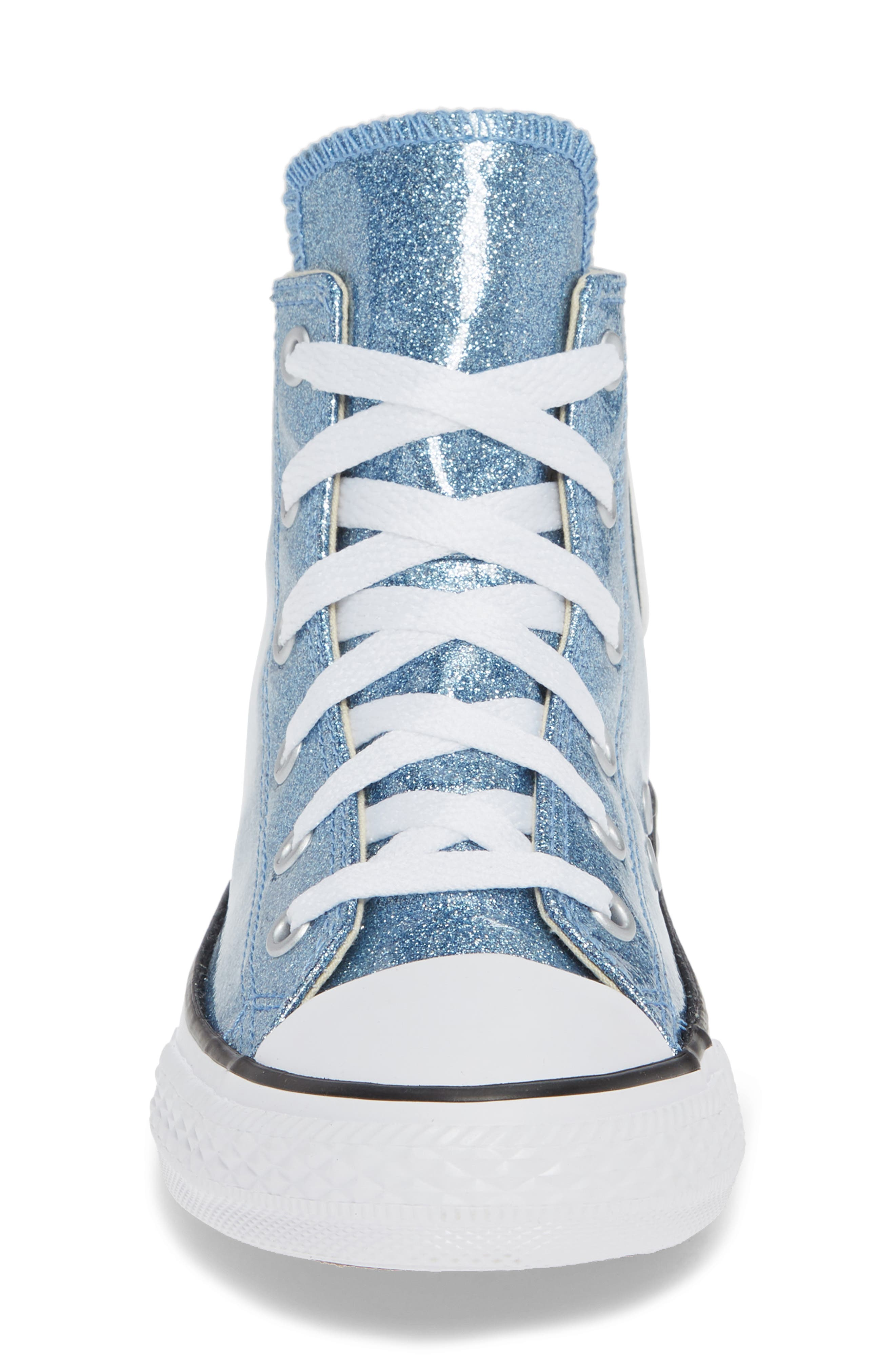 All Star<sup>®</sup> Glitter High Top Sneaker,                             Alternate thumbnail 6, color,                             Light Blue
