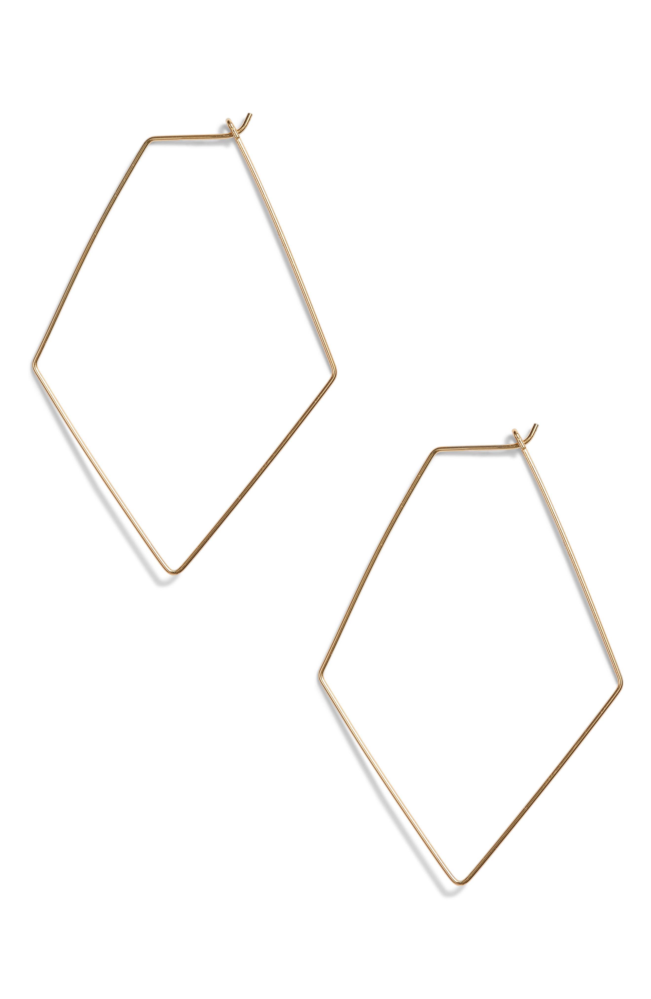 Rhombus Hoop Earrings,                         Main,                         color, Gold