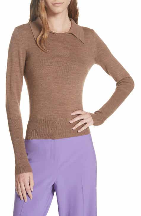 DVF Merino Wool Blend Polo Sweater