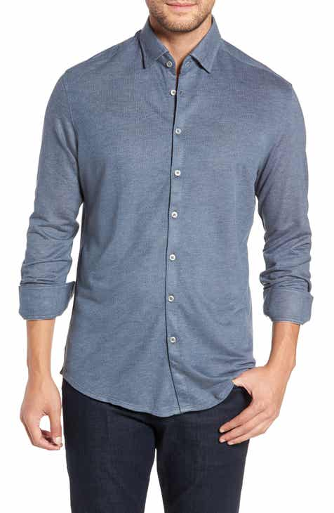 Stone Rose Trim Fit Knit Sport Shirt