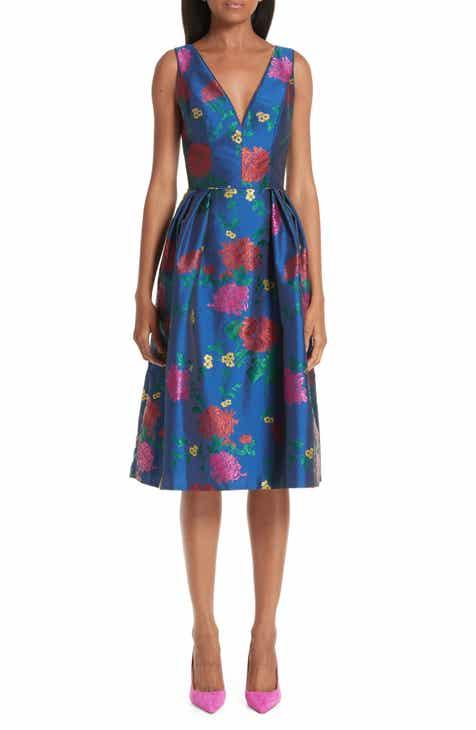 Carolina Herrera Sleeveless Allover Fl Fit Flare Dress