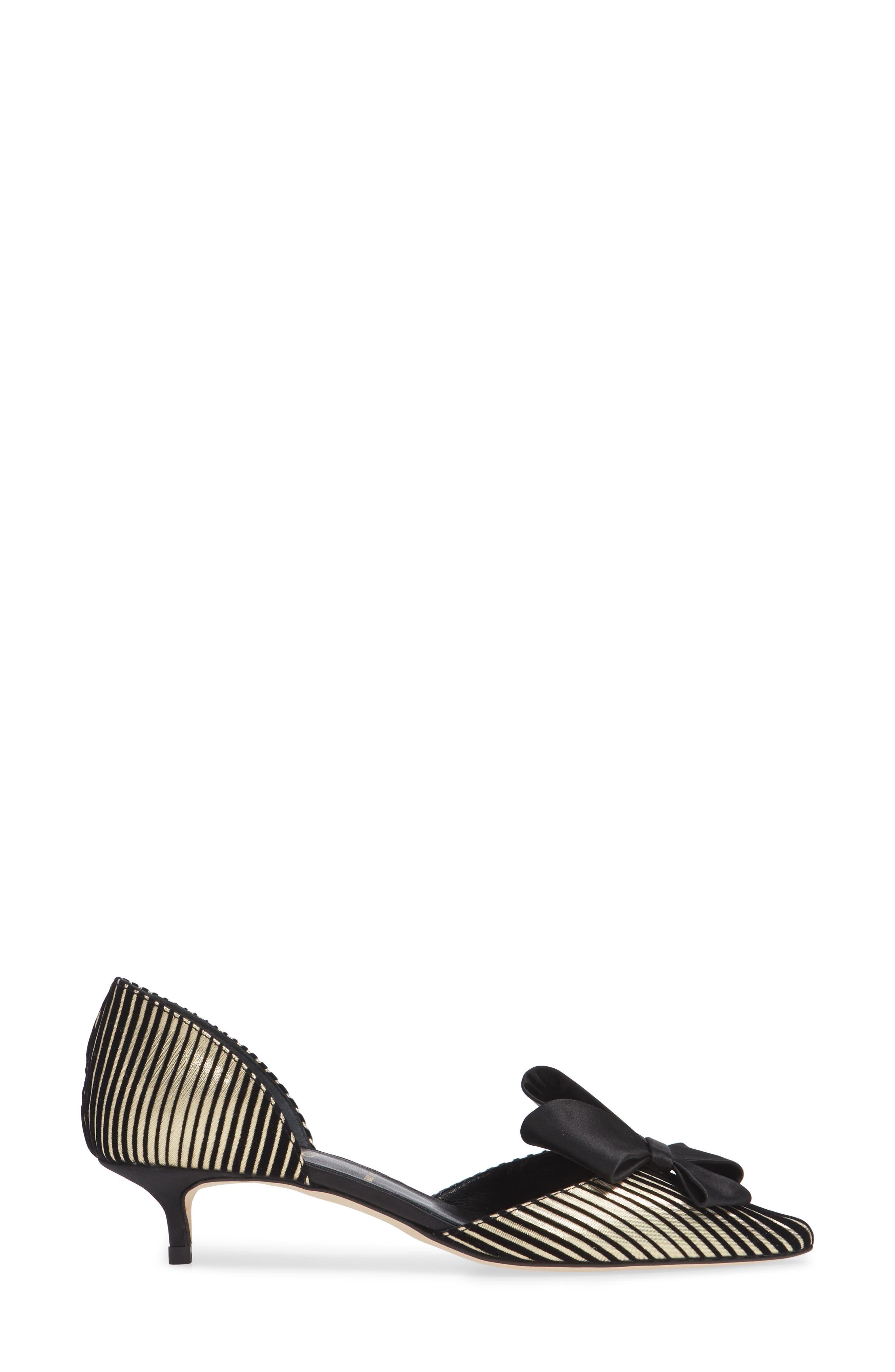 Cliff Bow d'Orsay Pump,                             Alternate thumbnail 3, color,                             Platinum Stripe Satin