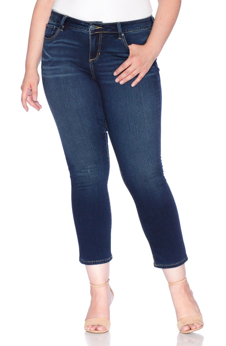 High Waist Stretch Ankle Straight Leg Jeans