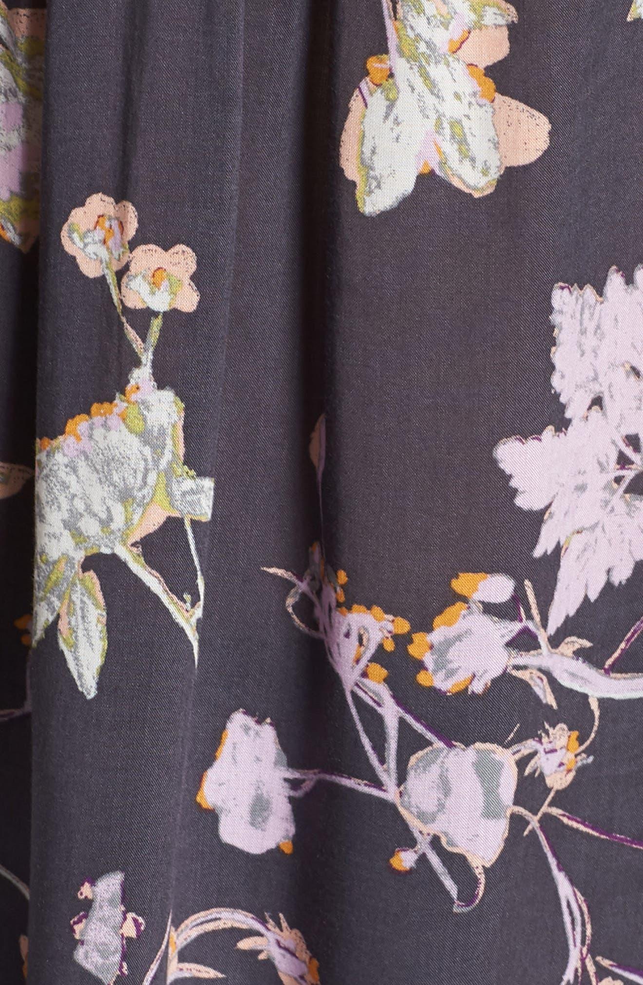 Floral Print Blouse,                             Alternate thumbnail 2, color,                             Grey Pressed Flora Prt