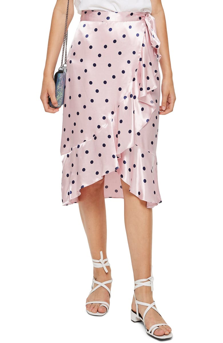 Satin Spot Ruffle Skirt