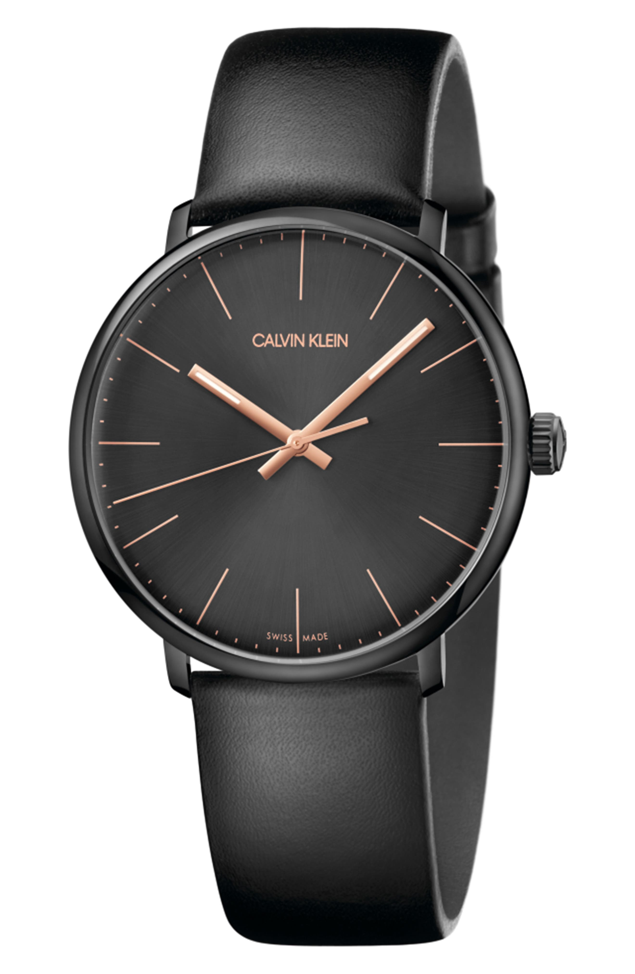 HIGH NOON LEATHER STRAP WATCH, 40MM