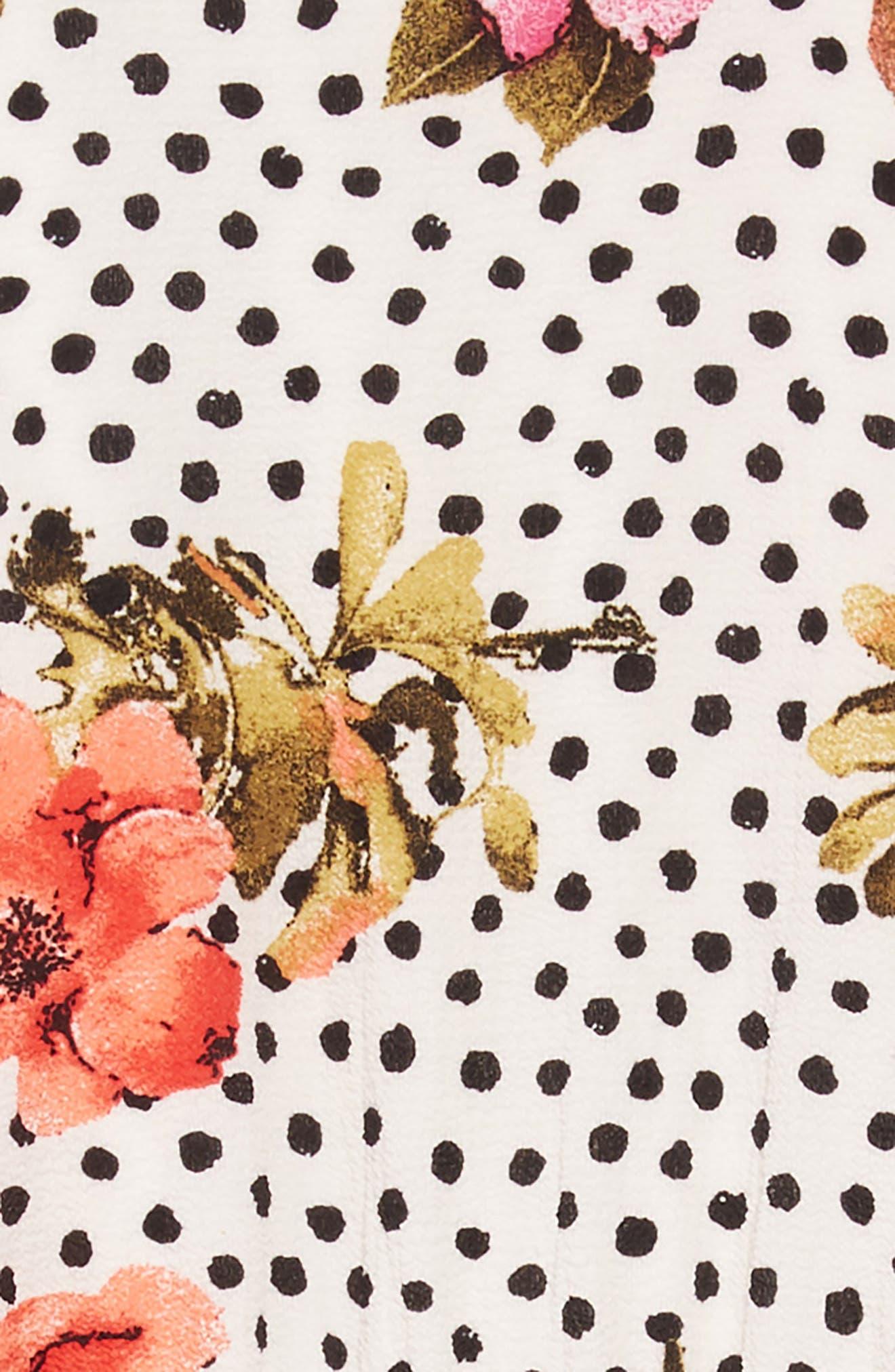 Floral Mock Neck Dress,                             Alternate thumbnail 3, color,                             Off White Multi