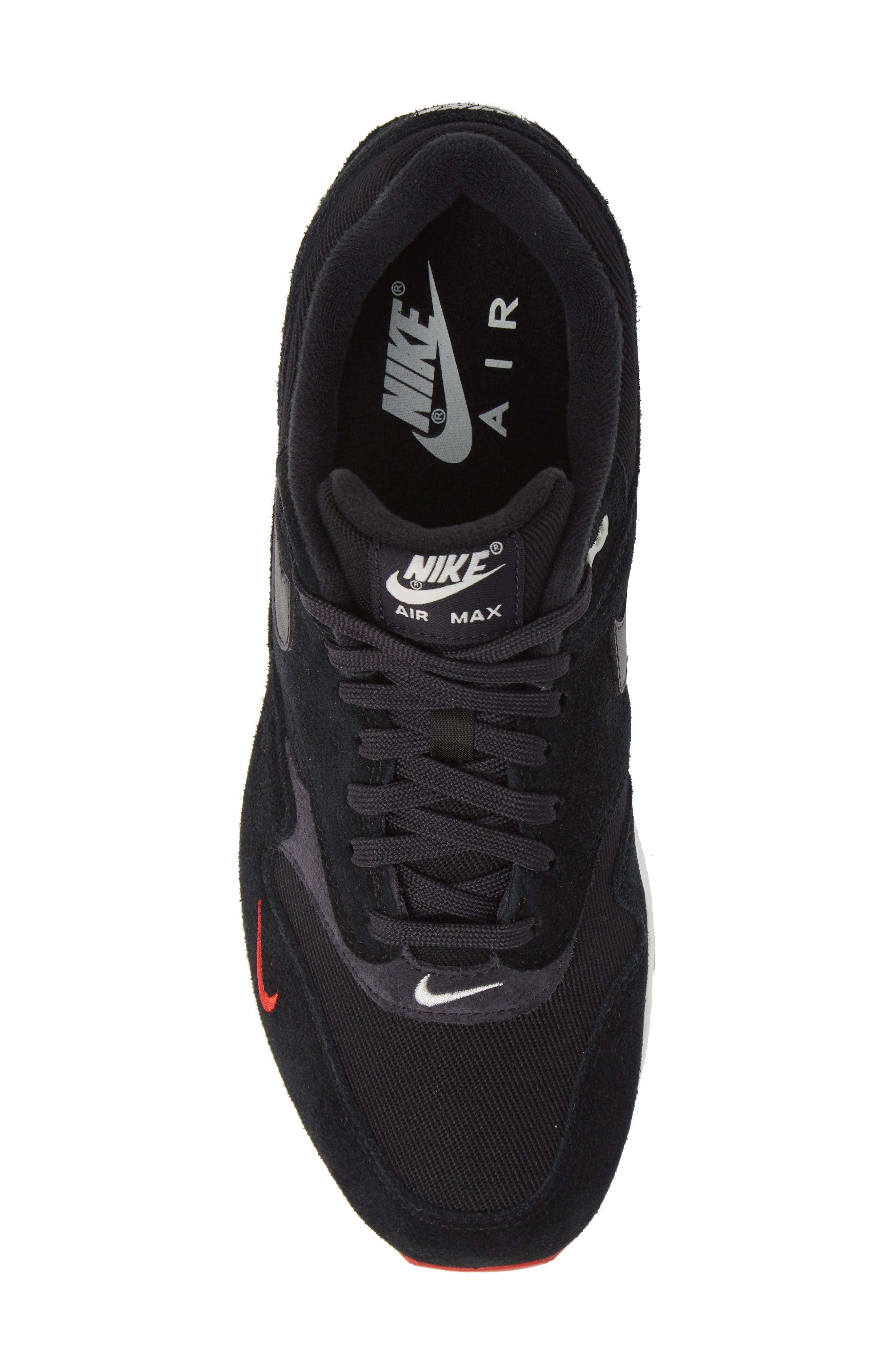 Air Max 1 Premium Sneaker,                             Alternate thumbnail 5, color,                             Black/ Grey/ University Red