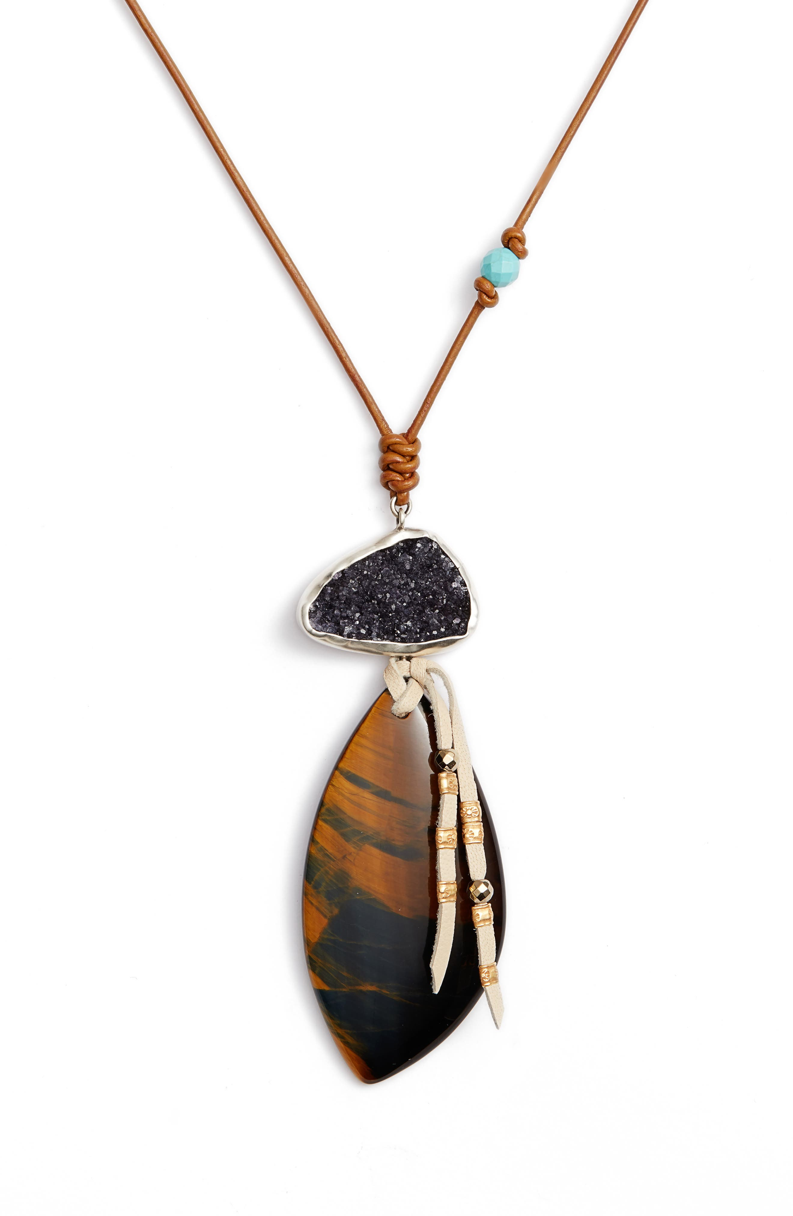 Tiger's Eye Pendant Leather Necklace,                             Alternate thumbnail 2, color,                             Brown Multi