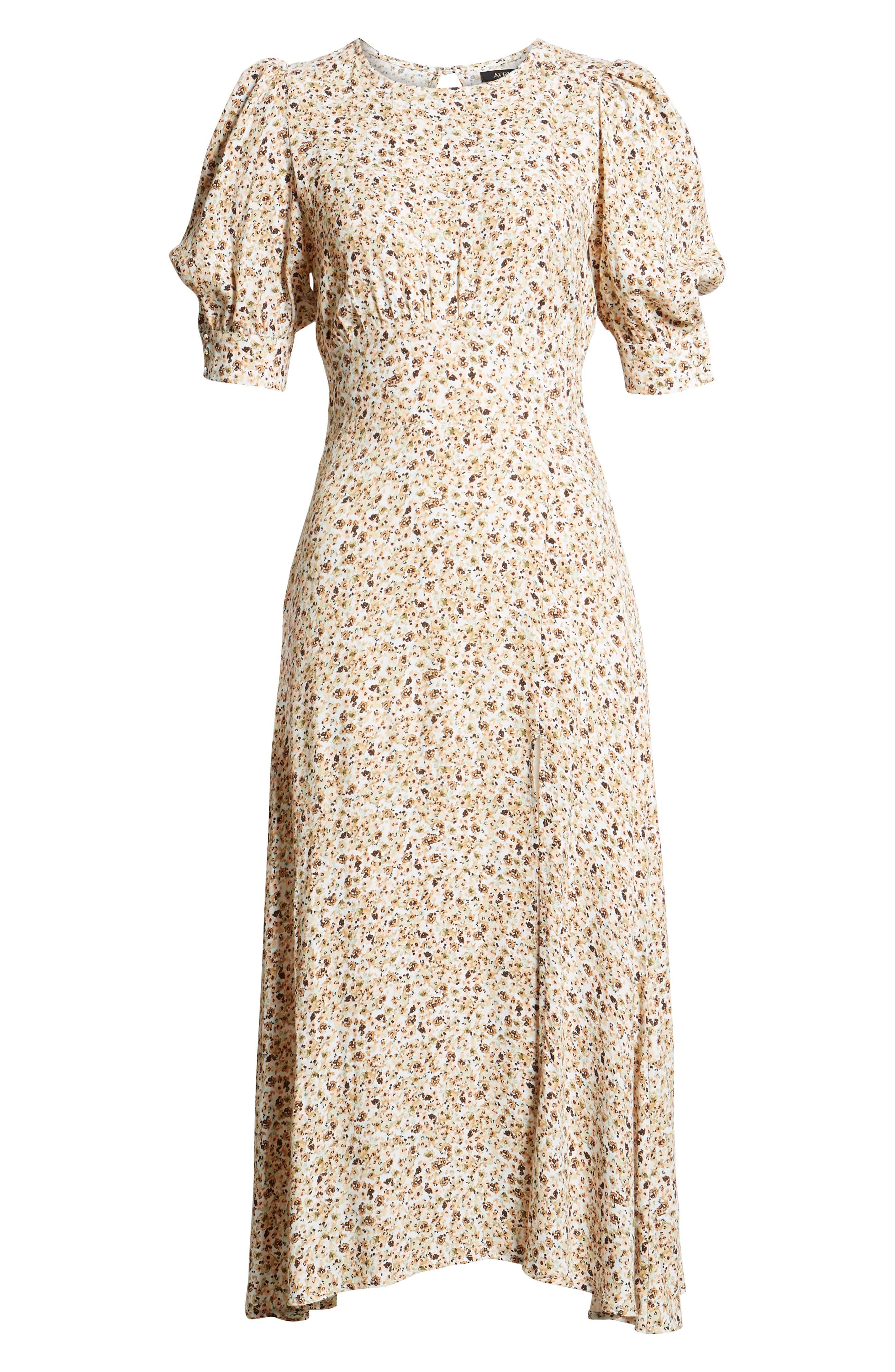 Lala Midi Dress,                             Alternate thumbnail 7, color,                             Beige Ditsy