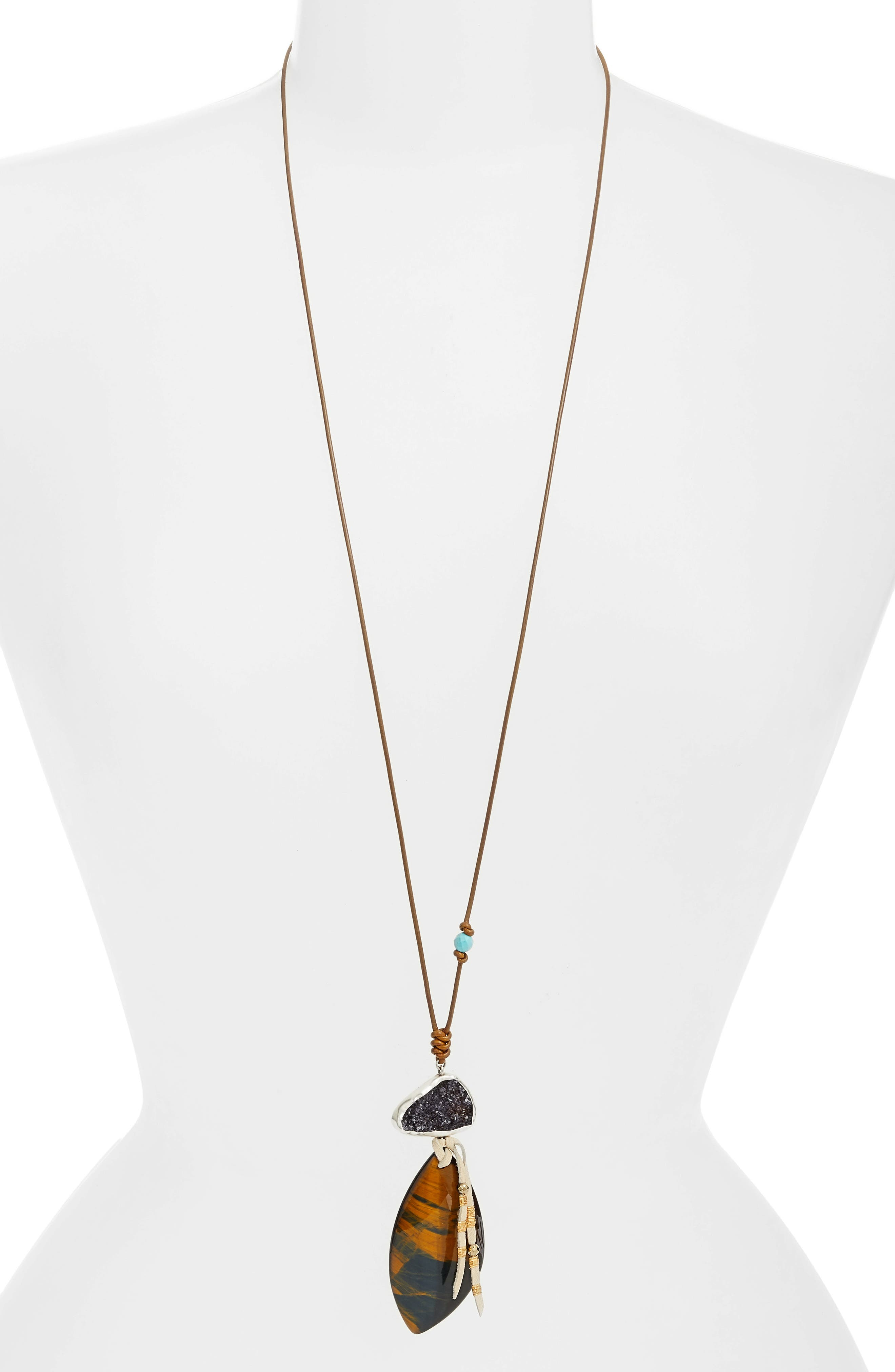 Tiger's Eye Pendant Leather Necklace,                             Main thumbnail 1, color,                             Brown Multi