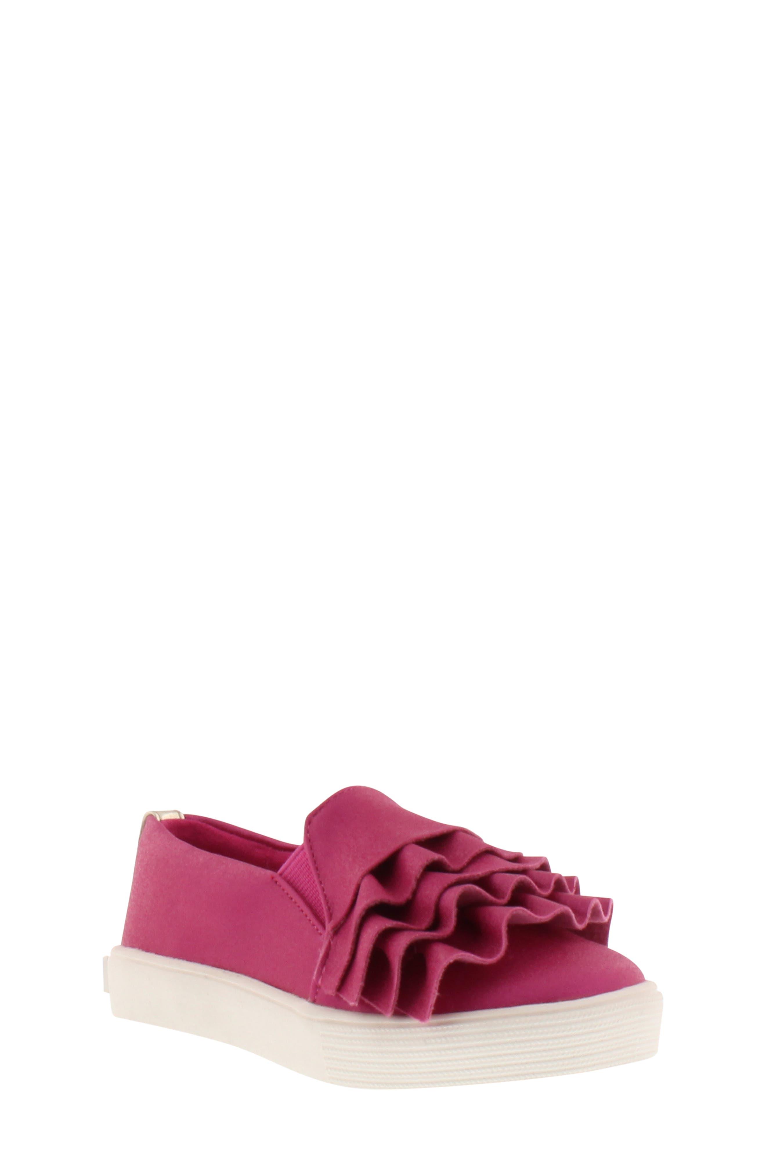 Shimmery Kam Ruffle Slip-On Sneaker,                             Main thumbnail 1, color,                             Fuchsia