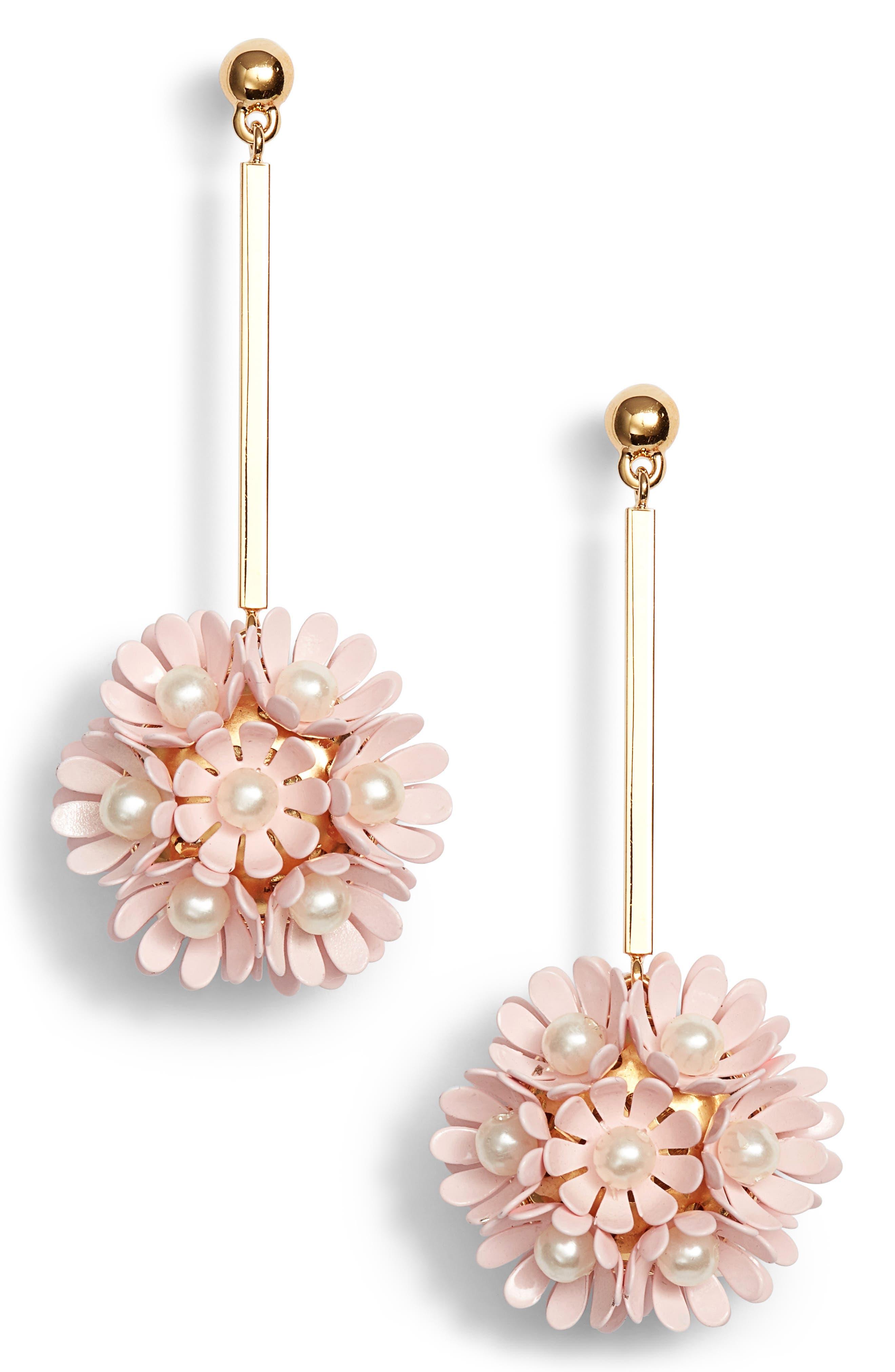 Plumeria Drop Earrings,                         Main,                         color, Blush