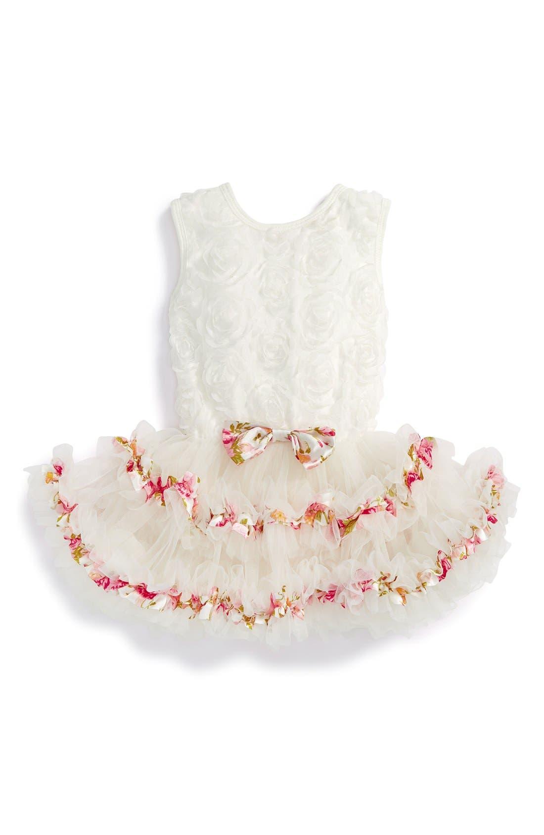 Ribbon Rosette Tutu Dress,                             Main thumbnail 1, color,                             White