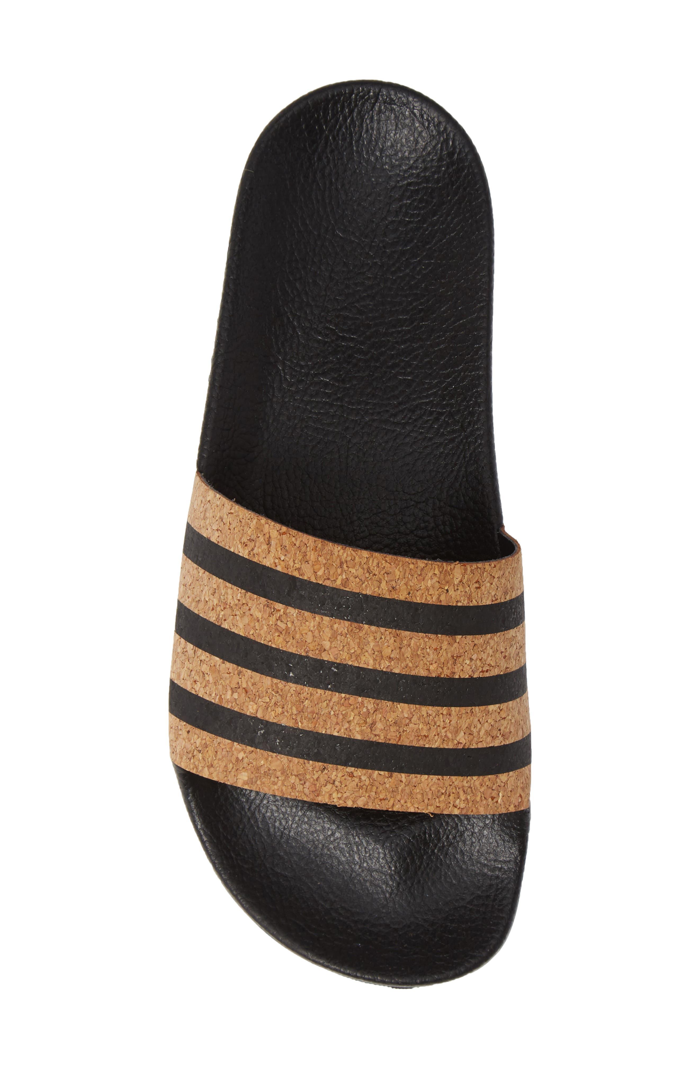 'Adilette' Slide Sandal,                             Alternate thumbnail 6, color,                             Core Black/ Core Black