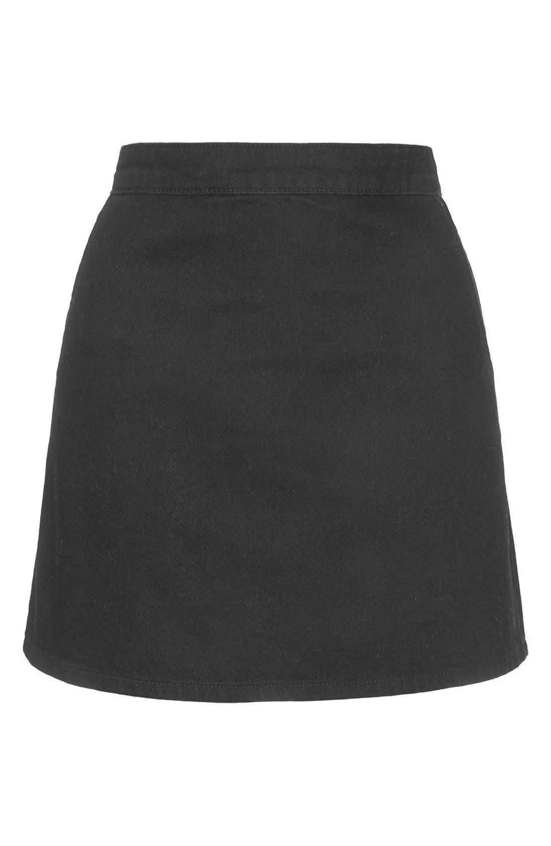 Alternate Image 3  - Topshop Moto Denim Miniskirt
