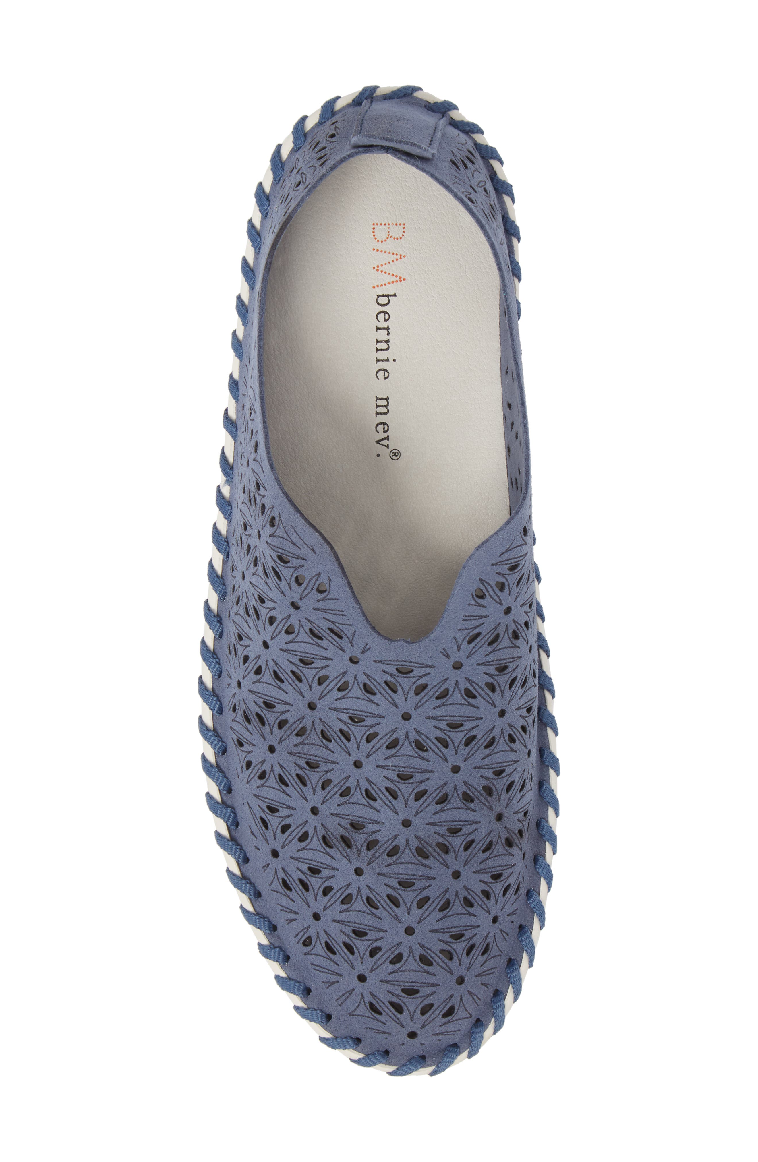 Perforated Slip-On Flat,                             Alternate thumbnail 5, color,                             Navy Leather