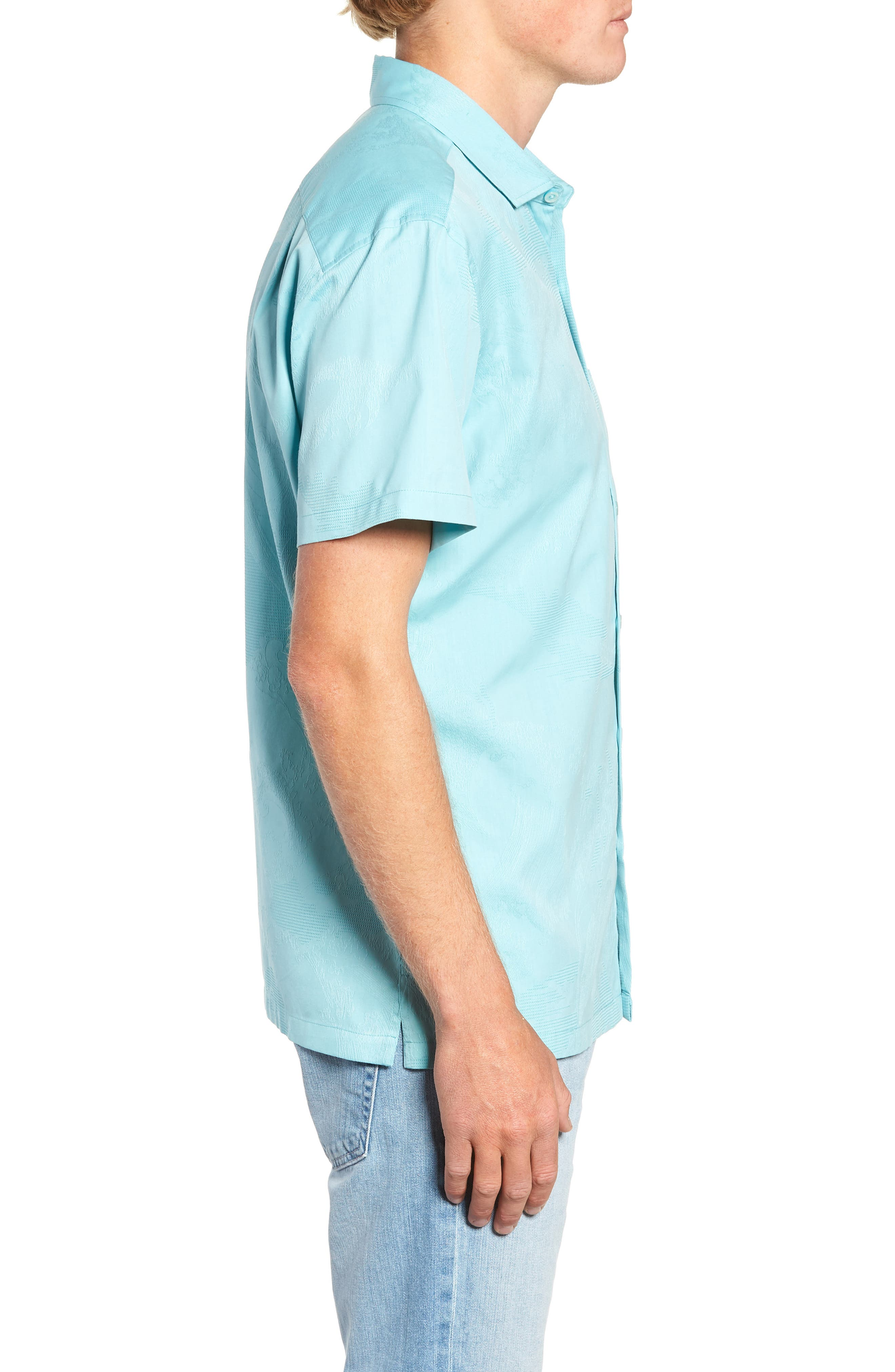 Seas the Day Trim Fit Camp Shirt,                             Alternate thumbnail 3, color,                             Surf