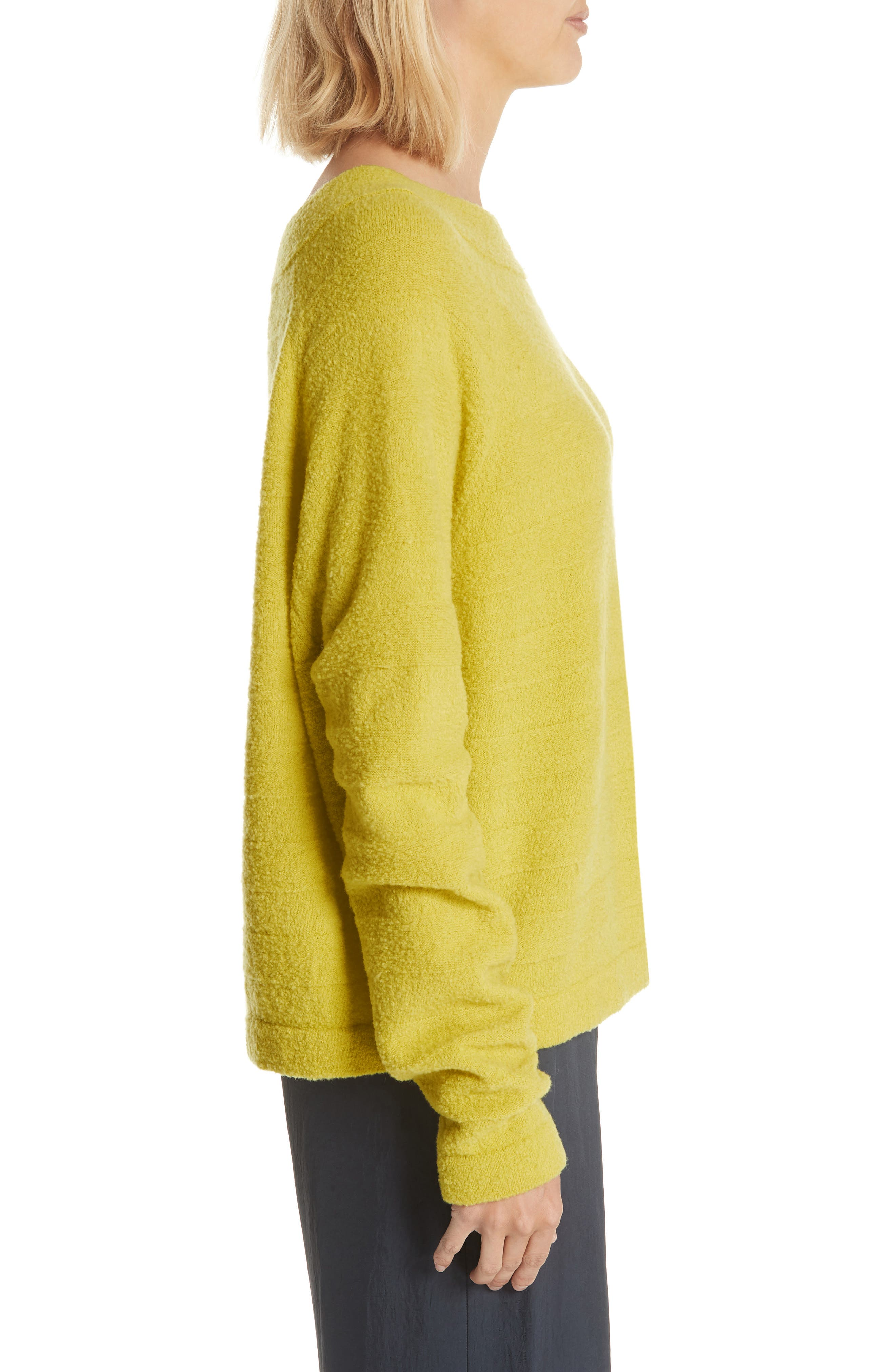Merino Wool Blend Knit Sweater,                             Alternate thumbnail 3, color,                             Zest