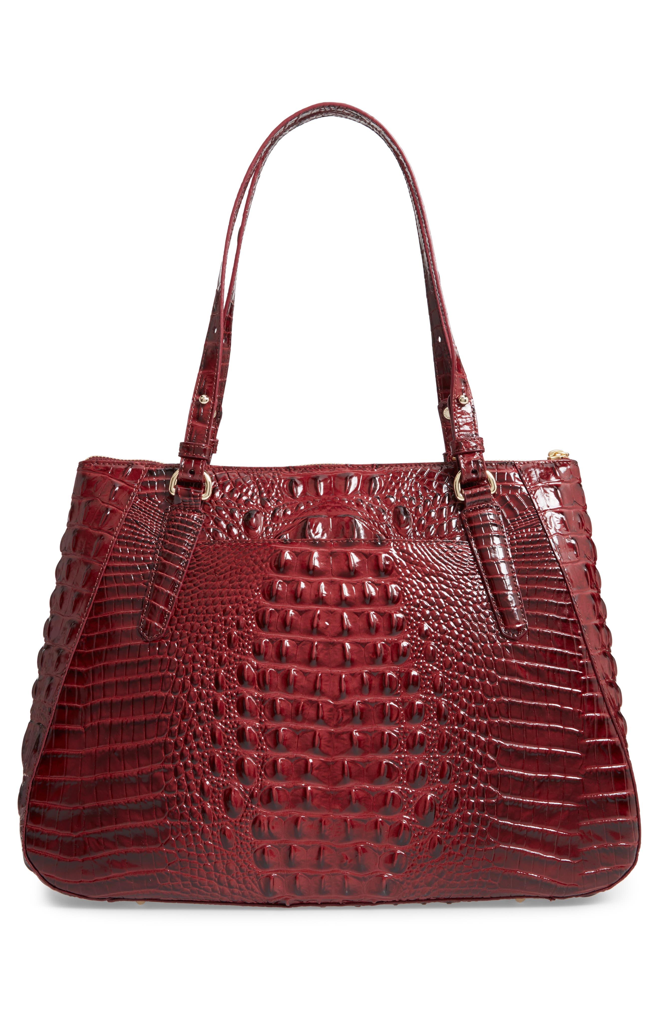 Melbourne - Adina Croc Embossed Leather Satchel,                             Alternate thumbnail 5, color,                             Tart