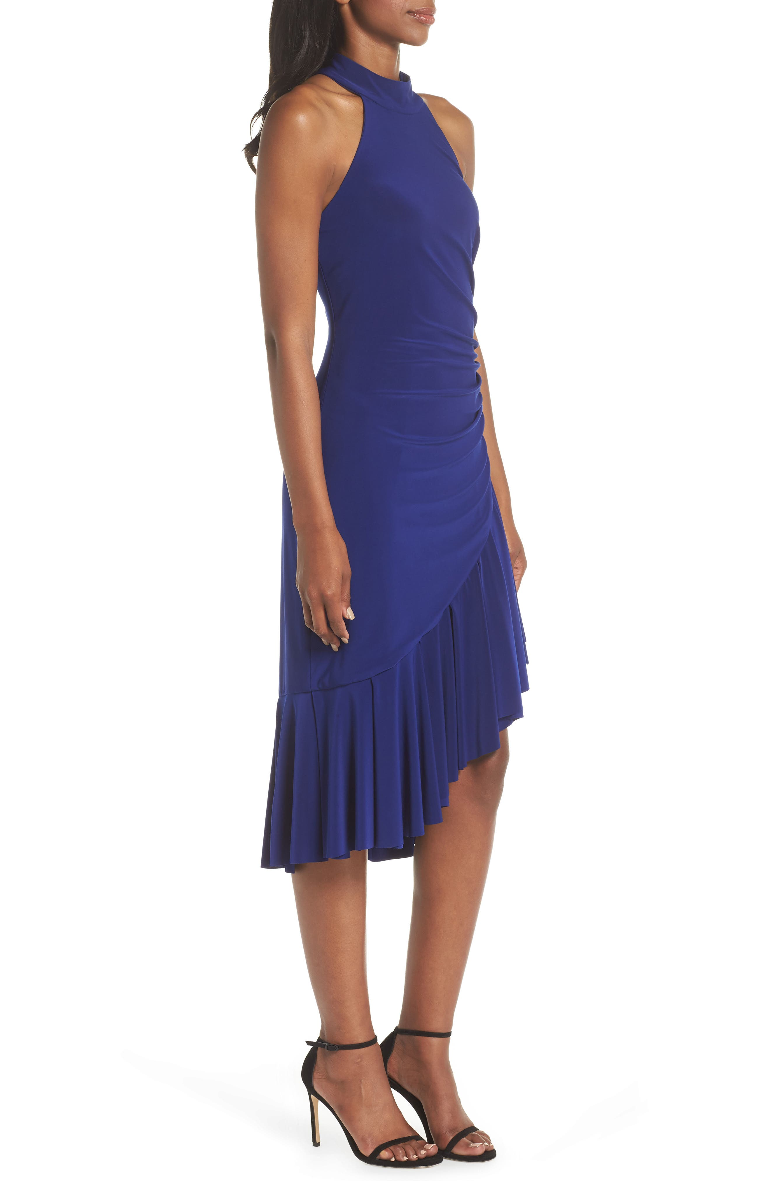 Halter Cascade Dress,                             Alternate thumbnail 3, color,                             Cobalt
