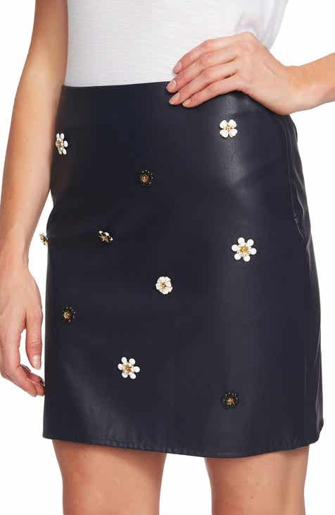 CeCe Embellished Faux Leather Miniskirt by CECE