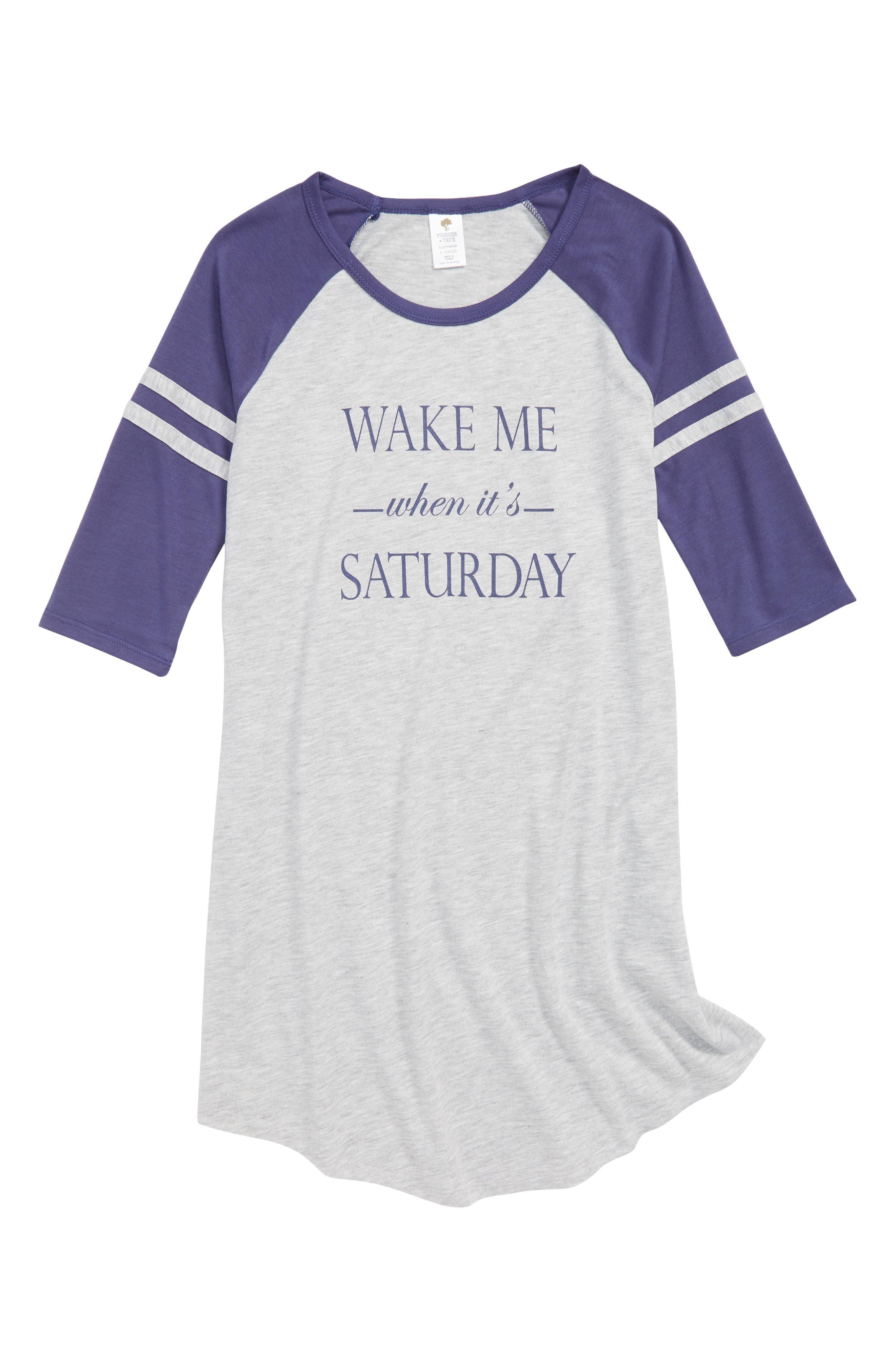 Graphic Sleep Shirt,                             Main thumbnail 1, color,                             Grey Ash Heather Saturday