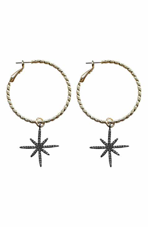 Gemelli Star Drop Hoop Earrings