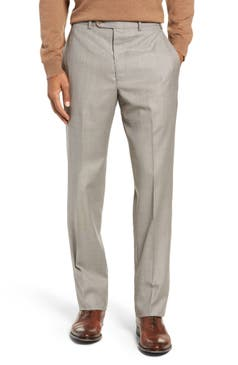 John W. Nordstrom® Traditional Fit Flat Front Solid Wool Trousers