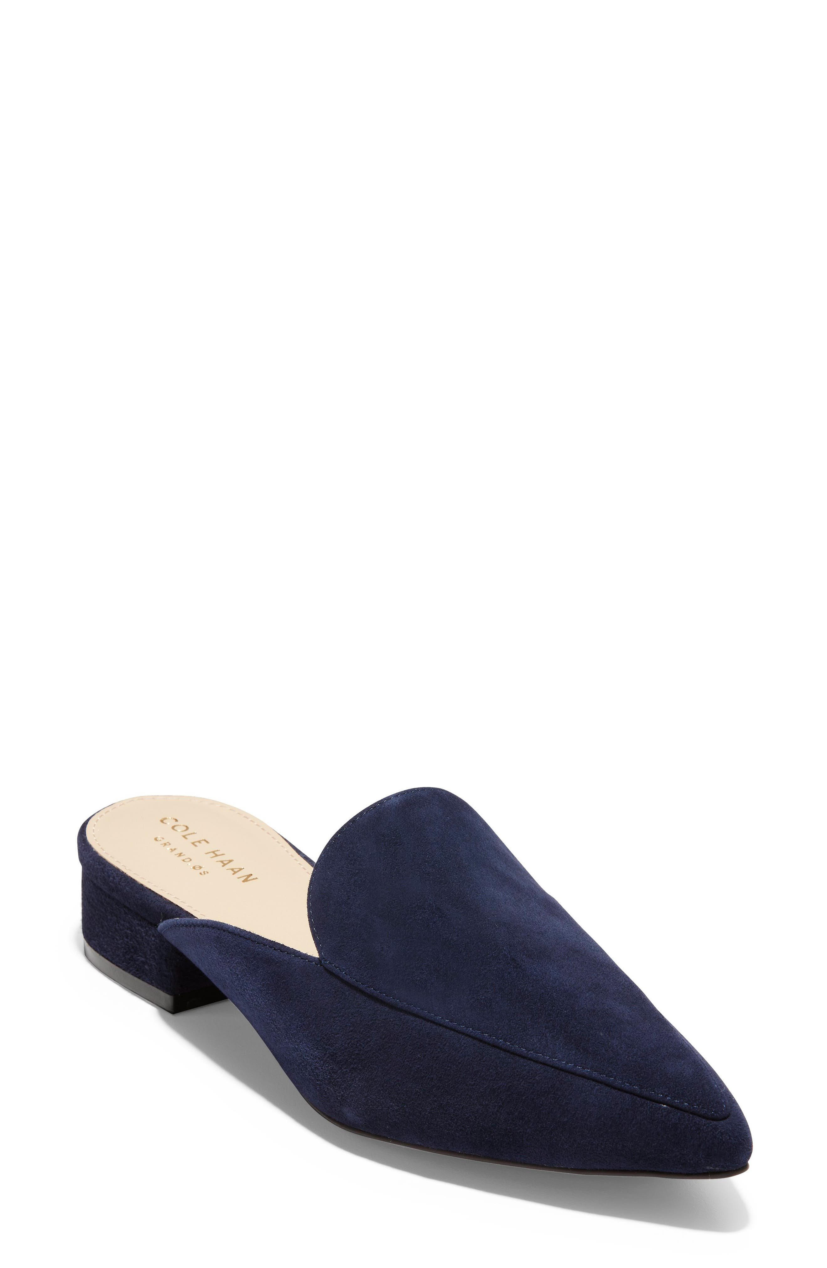 Piper Loafer Mule,                             Main thumbnail 1, color,                             Marine Blue Suede