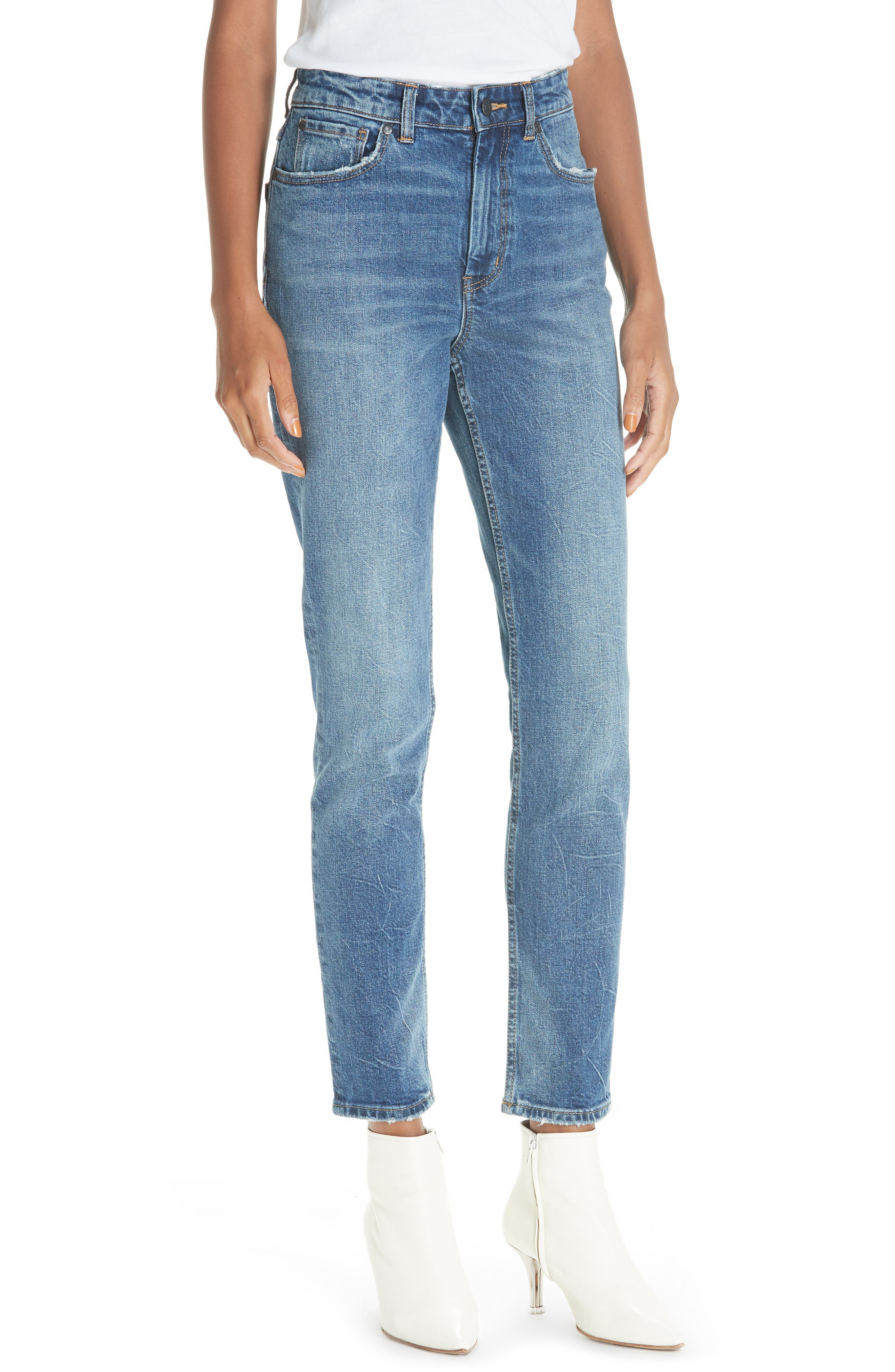 La Vie Rebecca Taylor High Waist Straight Leg Jeans (Garwsh)