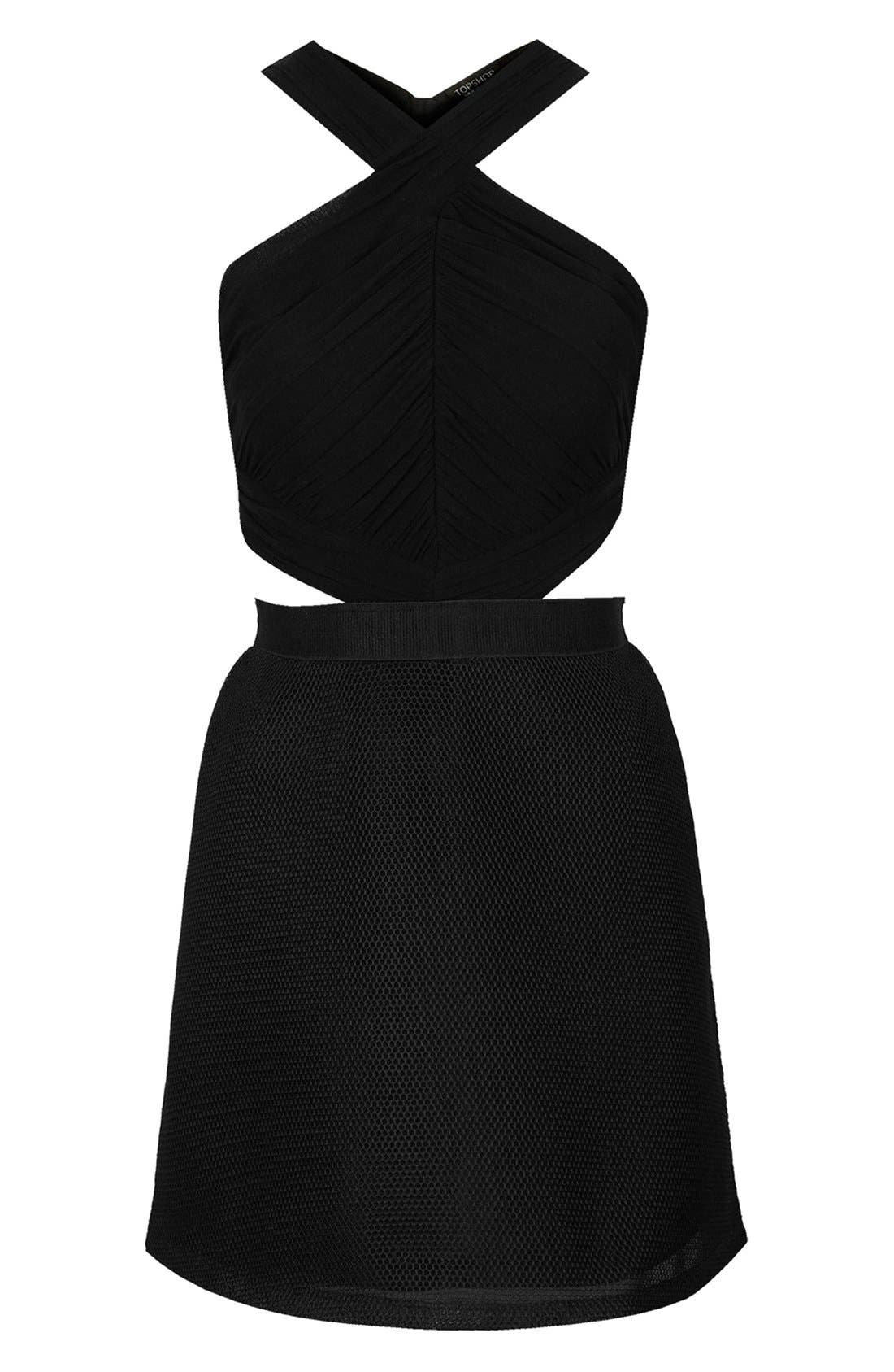 Halter Skater Dress,                             Alternate thumbnail 3, color,                             Black