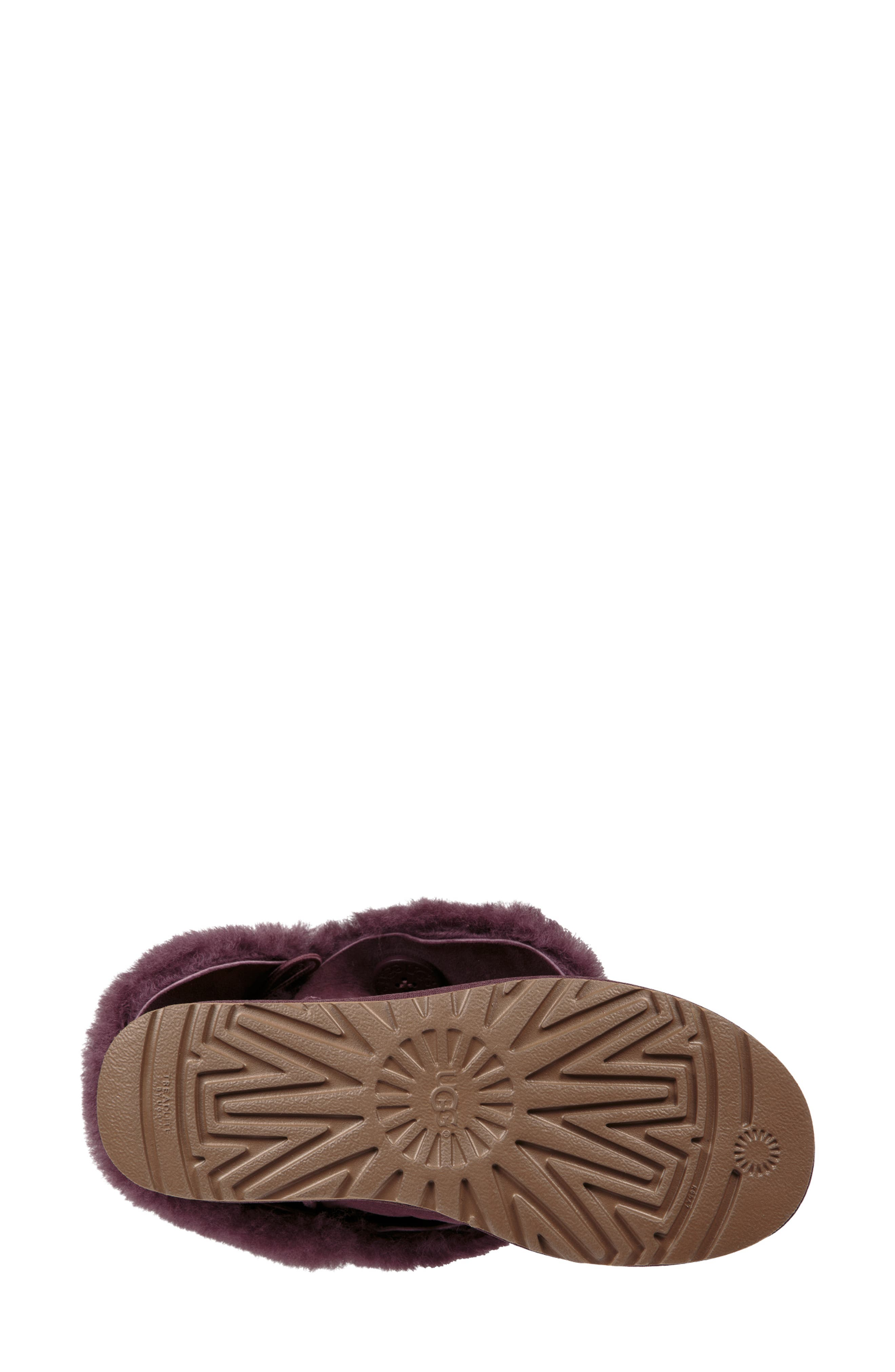 'Classic II' Genuine Shearling Lined Short Boot,                             Alternate thumbnail 3, color,                             Port