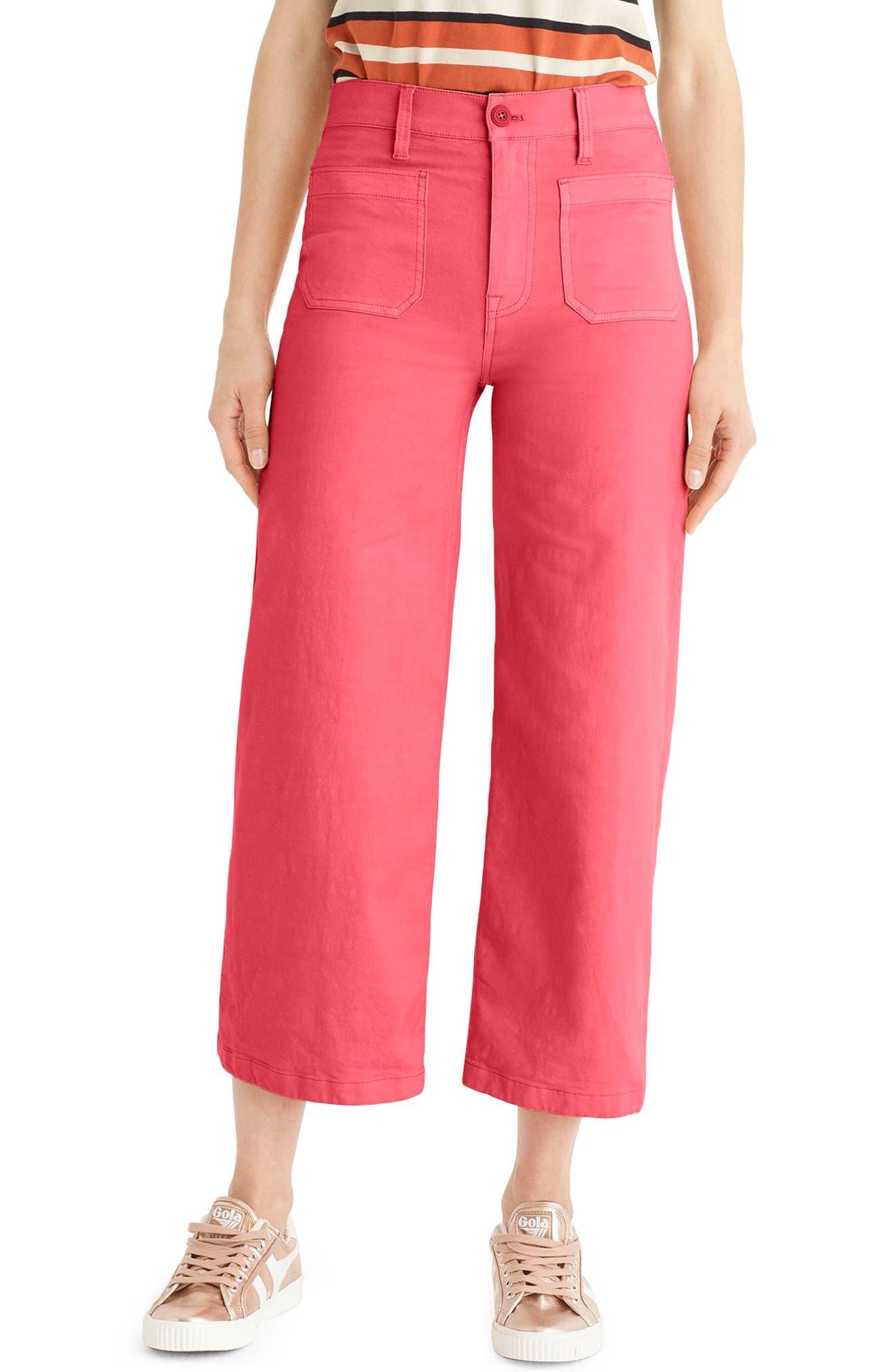 Point Sur Washed Wide Leg Crop Pants,                             Main thumbnail 1, color,                             Vintage Rose
