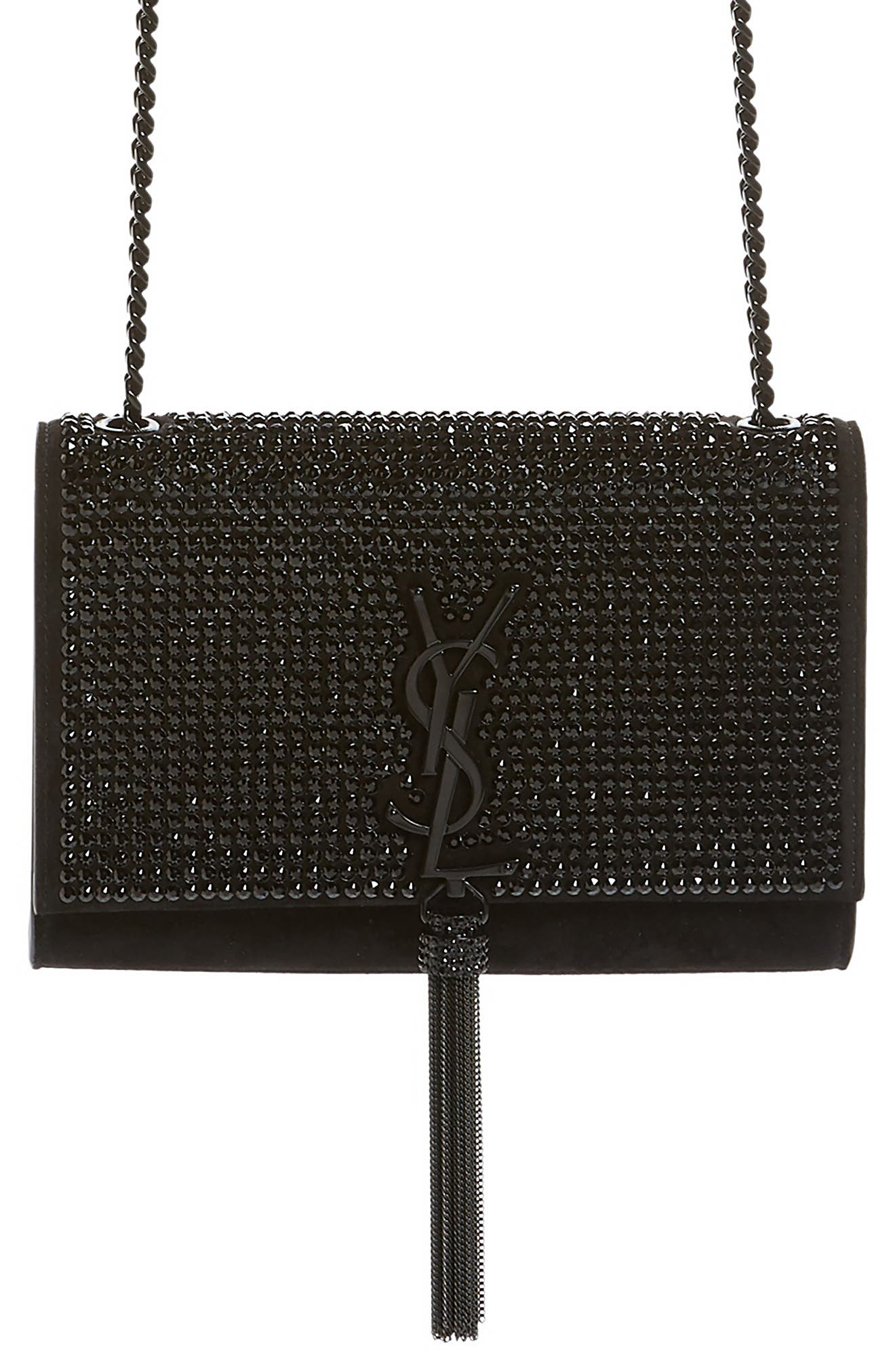 Small Kate Crystal Embellished Crossbody Bag,                             Main thumbnail 1, color,                             Nero/ Jet