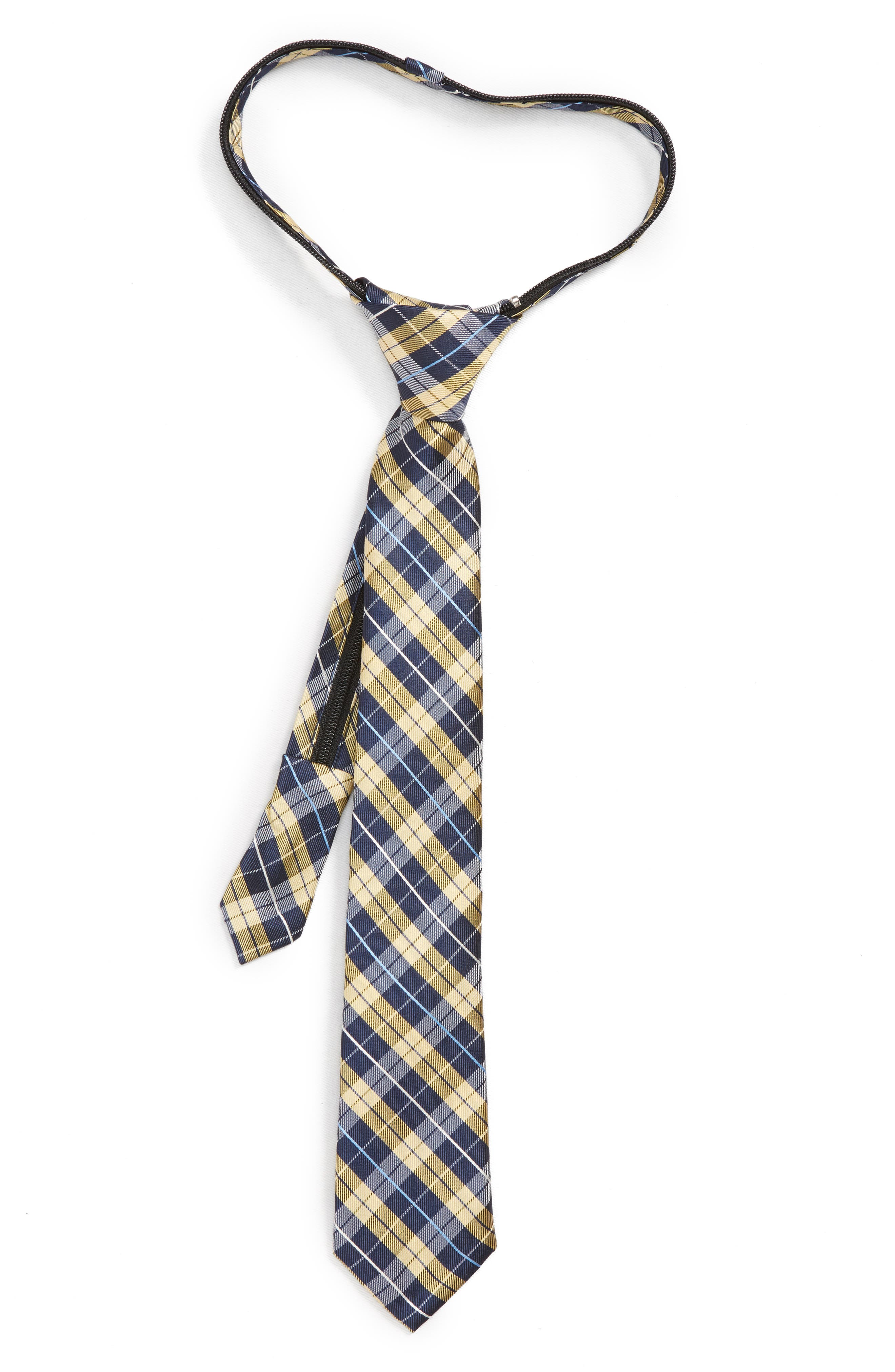 Plaid Silk Zip Tie,                             Main thumbnail 1, color,                             Yellow