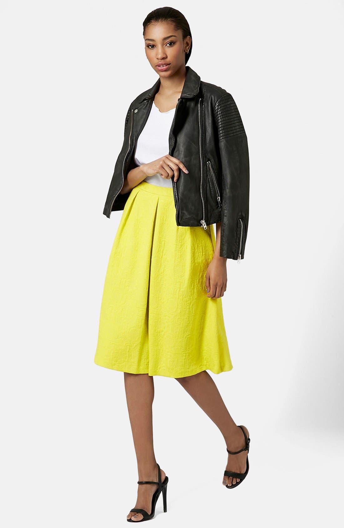 Pleated Jacquard Midi Skirt,                             Alternate thumbnail 5, color,                             Yellow