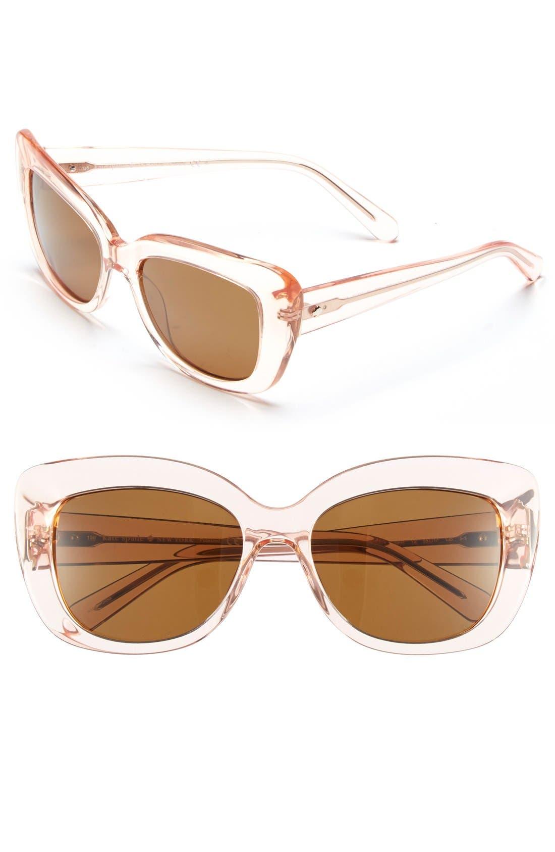 'ursula' 55mm polarized cat eye sunglasses,                         Main,                         color, Neutral