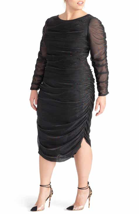 c6290031f7417 RACHEL Rachel Roy Metallic Pinstripe Ruched Dress (Plus Size)