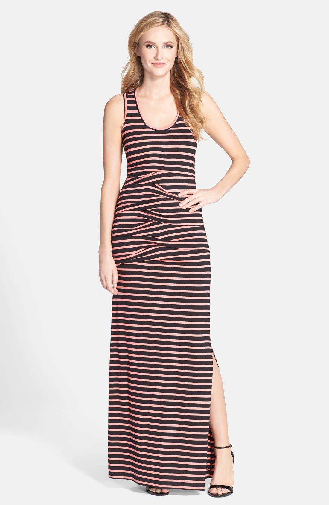 Main Image - Nicole Miller 'Vanessa' Stripe Jersey Maxi Dress