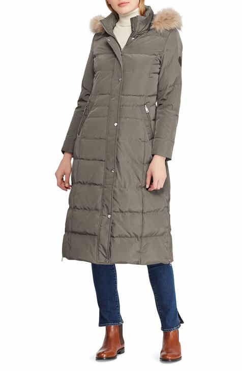 Lauren Ralph Lauren Long Down Coat with Faux Fur Trim 34814801a3