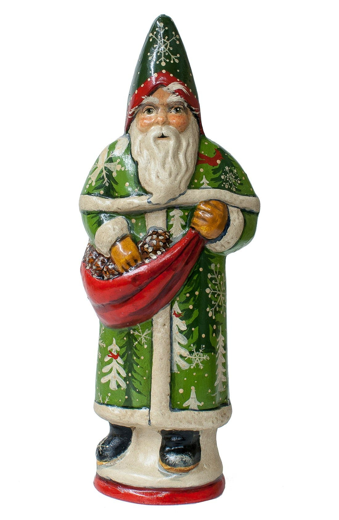'Forest Santa with Pinecones' Figurine,                         Main,                         color, Green Multi